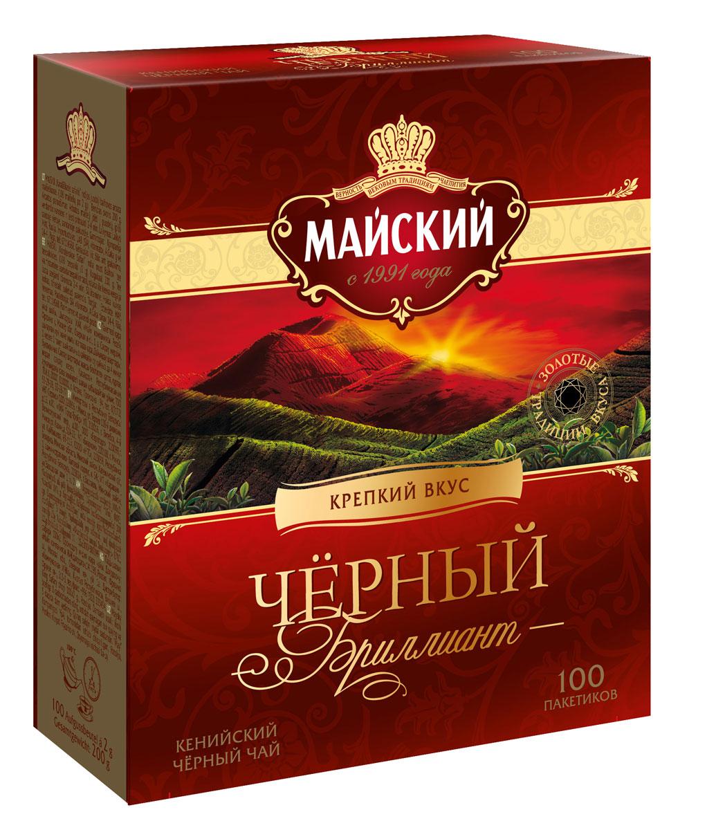 Майский Черный Бриллиант черный чай в пакетиках, 100 шт100992Майский Черный Бриллиант - оригинальный купаж кенийского черного чая обладает насыщенным вкусом с легкими ореховыми нотками.
