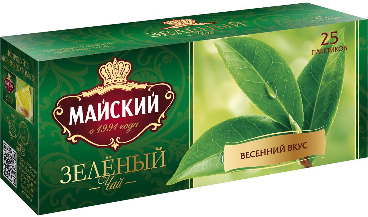 Майский Зеленый зеленый чай в пакетиках, 25 шт