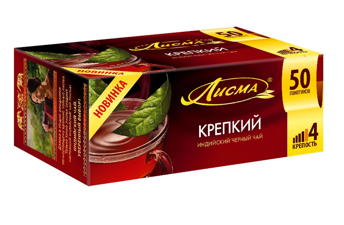 Лисма Крепкий черный чай в пакетиках, 50 шт201945Лисма Крепкий - индийский черный байховый чай в пакетиках. Коробка содержит 50 пакетиков по 2 грамма.