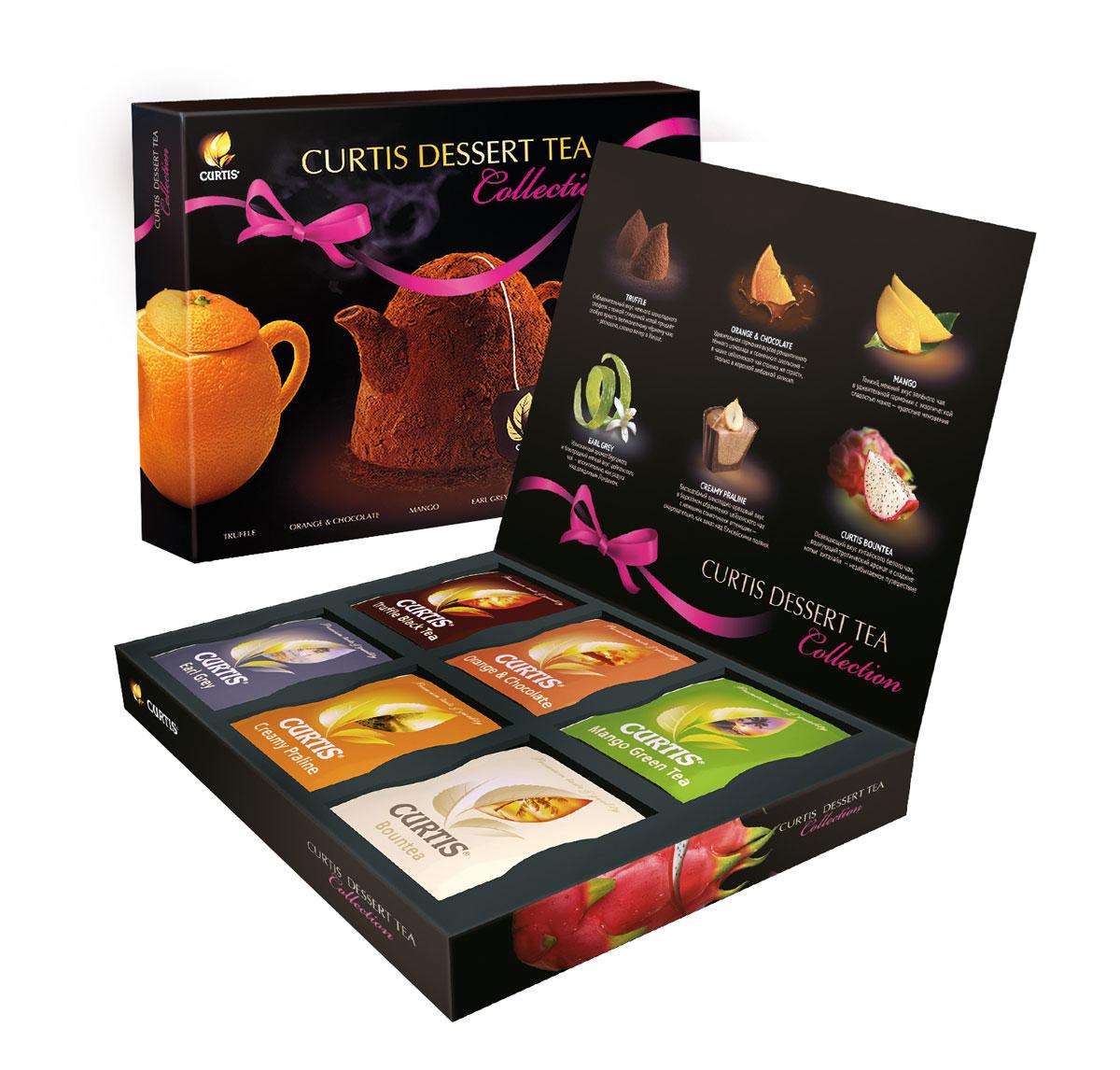Curtis Dessert Tea Collection - коллекция чая с десертными вкусами. Сочетание великолепного чая и вкусов знаменитых десертов рождает новую изысканную форму удовольствия. Утонченные ароматы и соблазнительные вкусы: шоколадный, фруктовый, карамельный и т.д.
