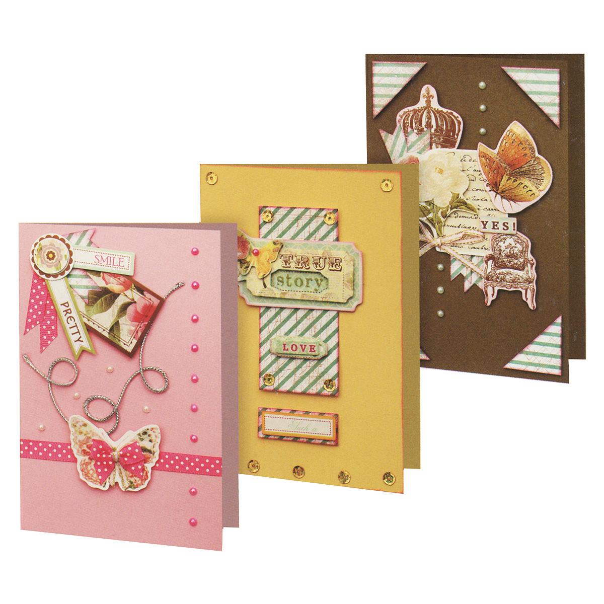 Набор для создания открыток Белоснежка Лучезарный, 3 шт113-SB Набор для создания 3-х открыток ЛучезарныйНабор для создания открыток Белоснежка Лучезарный позволит вам и вашему ребенку создать 3 оригинальные открытки из картона в стиле 3D скрапбукинг. Набор включает в себя все необходимое для работы: 3 заготовки для открыток, 3 конверта, клеевые подушечки, декоративные элементы (вырубка из бумаги, ленты, паетки, стразы, полубусины) и подробную инструкцию на русском языке. Скрапбукинг - это хобби, которое способно приносить массу приятных эмоций не только человеку, который этим занимается, но и его близким, друзьям, родным. Это невероятно увлекательное занятие, которое поможет вам сохранить наиболее памятные и яркие моменты вашей жизни, а также интересно оформить интерьер дома. Размер открытки: 11,5 см х 17 см.