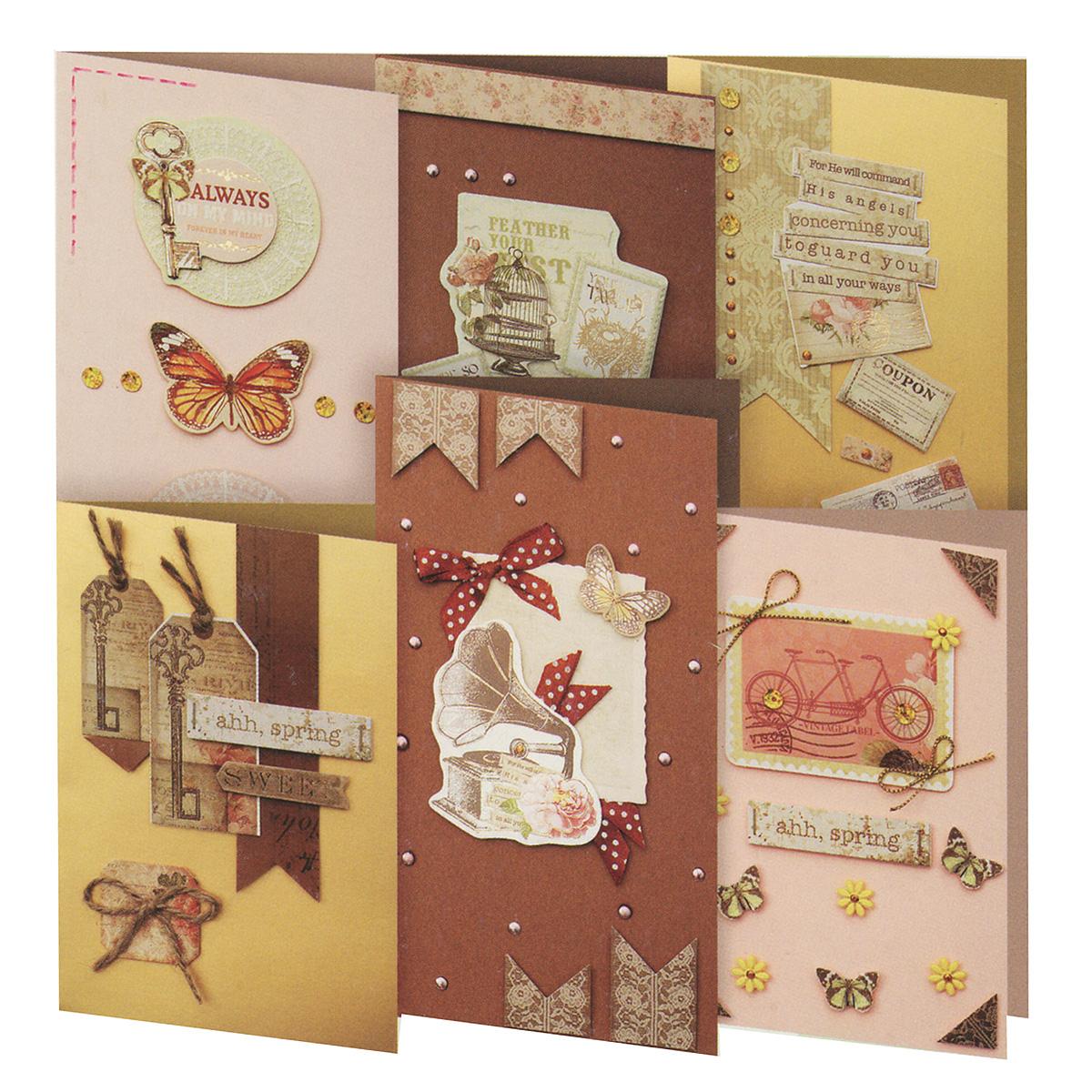 Набор для создания открыток Белоснежка Шоколад, 6 шт221-SB Набор для создания 6-ти открыток ШоколадНабор для создания открыток Белоснежка Шоколад позволит вам и вашему ребенку создать 6 оригинальных открыток из картона в стиле 3D скрапбукинг. Набор включает в себя все необходимое для работы: 6 заготовок для открыток, 6 конвертов, бумага для скрапбукинга, клеевые подушечки, декоративные элементы (вырубка из бумаги, ленты, паетки, стразы, полубусины) и подробную инструкцию на русском языке. Скрапбукинг - это хобби, которое способно приносить массу приятных эмоций не только человеку, который этим занимается, но и его близким, друзьям, родным. Это невероятно увлекательное занятие, которое поможет вам сохранить наиболее памятные и яркие моменты вашей жизни, а также интересно оформить интерьер дома. Размер малой открытки: 11,5 см х 17 см. Размер большой открытки: 11,5 см х 21 см.
