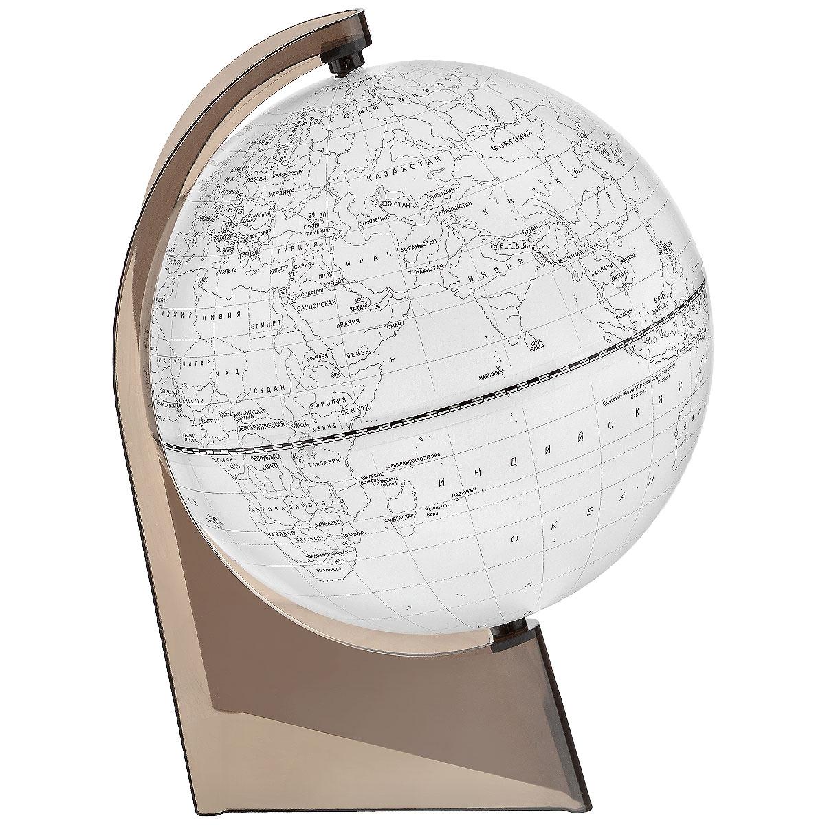 Глобусный мир Глобус Земли, контурный, диаметр 21 см10293Глобус Земли Глобусный мир, изготовленный из высококачественного прочного пластика. Контурный глобус - это отличная возможность для ребенка проверить свои знания по географии, в том числе политической. Карта выполнена в виде контуров материков с названиями государств и их столиц, океанов и островов. Его можно использовать в игровой форме. С помощью этого глобуса можно тренировать память. Изделие расположено на треугольной подставке. Названия стран на глобусе приведены на русской язык. Настольный контурный глобус Земли Глобусный мир станет оригинальным украшением рабочего стола или вашего кабинета. Это изысканная вещь станет прекрасным подарком для современного преуспевающего человека, следующего последним тенденциям моды и стремящегося к элегантности и комфорту в каждой детали. Масштаб: 1:60 000 000.