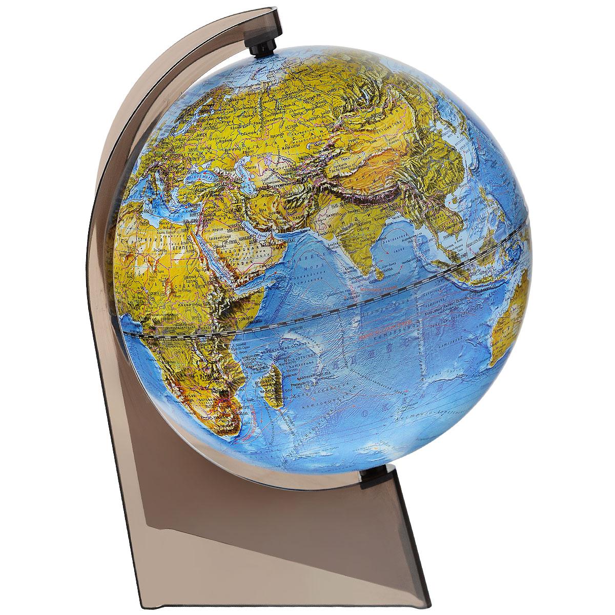 Глобусный мир Глобус ландшафтный диаметр 21 см10285Ландшафтный глобус Глобусный мир, изготовленный из высококачественного прочного пластика. Данная модель предназначена для ознакомления с особенностями ландшафта нашей планеты. Помимо этого ландшафтный глобус обладает приятной цветовой гаммой. Глобус дает представление о местоположении материков и океанов, на нем можно рассмотреть особенности ландшафта нашей планеты (рельефы местности, леса, горы, реки, моря, структуру дна океанов, рельеф суши), можно увидеть графическое изображение географических меридианов и параллелей, гидрографическая сеть, а также крупнейшие населенные пункты. Названия стран на глобусе приведены на русской язык. Настольный ландшафтный глобус Глобусный мир станет оригинальным украшением рабочего стола или вашего кабинета. Это изысканная вещь для стильного интерьера, которая станет прекрасным подарком для современного преуспевающего человека, следующего последним тенденциям моды и стремящегося к элегантности и комфорту в каждой детали....