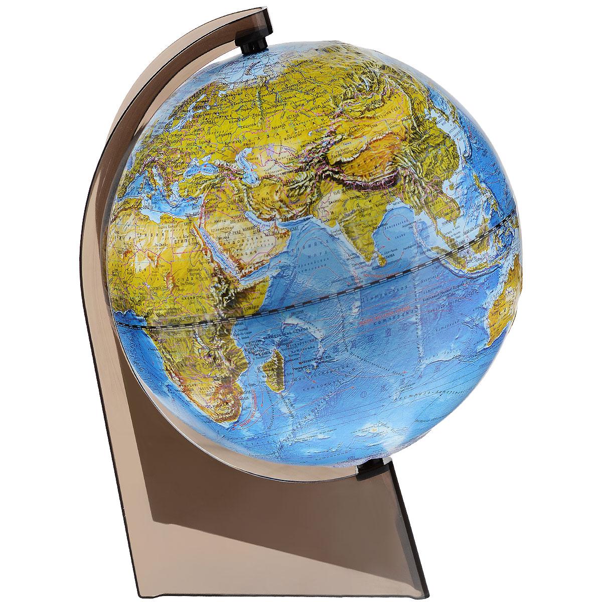Глобусный мир Ландшафтный глобус, рельефный, диаметр 21 см10287Ландшафтный глобус Глобусный мир, изготовленный из высококачественного прочного пластика. Данная модель предназначена для ознакомления с особенностями ландшафта нашей планеты. Помимо этого ландшафтный глобус обладает приятной цветовой гаммой. Глобус дает представление о местоположении материков и океанов, на нем можно рассмотреть особенности ландшафта нашей планеты (рельефы местности, леса, горы, реки, моря, структуру дна океанов, рельеф суши), можно увидеть графическое изображение географических меридианов и параллелей, гидрографическая сеть, а также крупнейшие населенные пункты. Модель имеет рельефную выпуклую поверхность, что, в свою очередь, делает глобус особенно интересным для детей младшего школьного и дошкольного возрастов. Изделие расположено на треугольной подставке. Названия стран на глобусе приведены на русской язык. Настольный ландшафтный глобус Глобусный мир станет оригинальным украшением рабочего стола или вашего кабинета. Это изысканная...