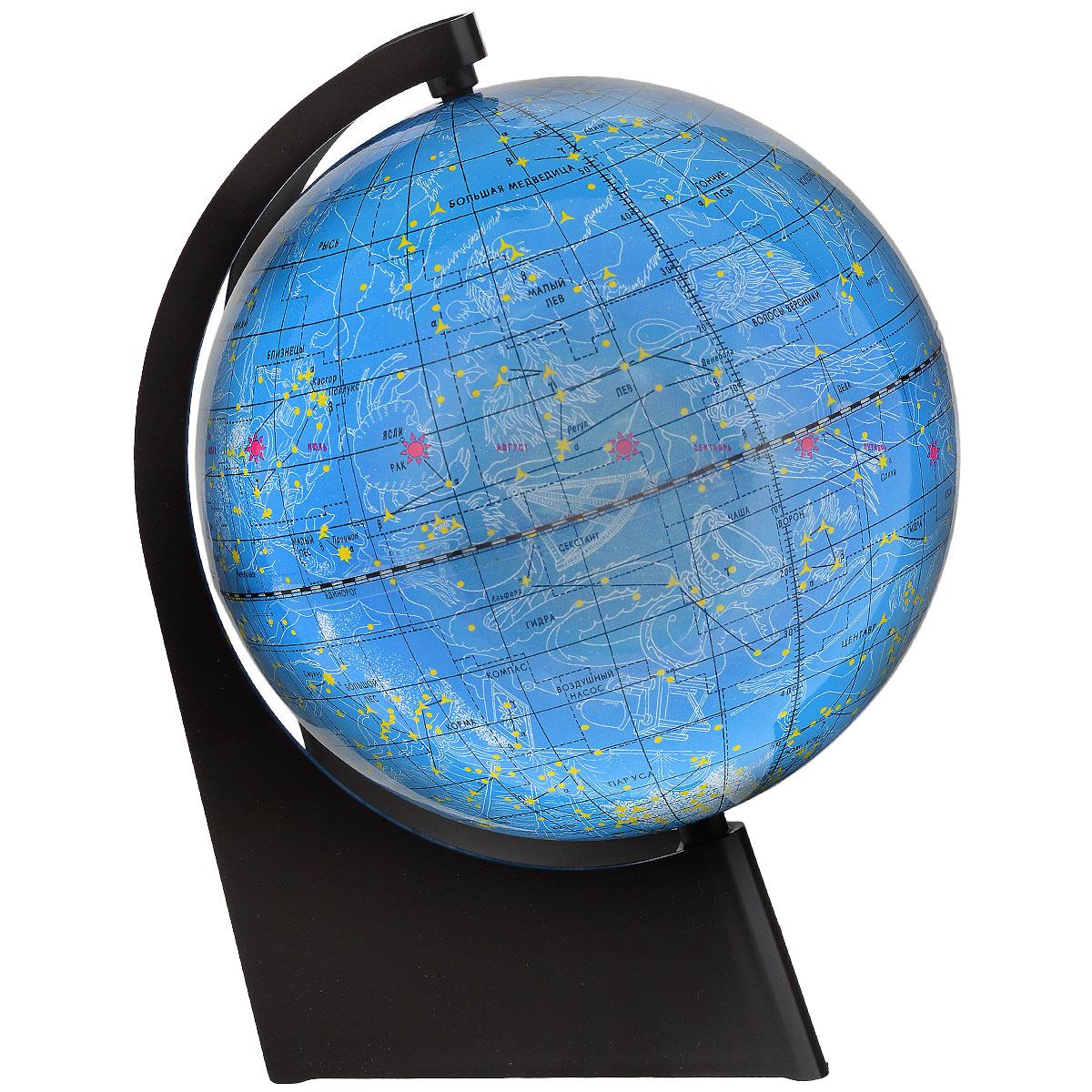 Глобусный мир Глобус звездного неба, диаметр 21 см10295Глобус звездного неба Глобусный мир, изготовленный из высококачественного прочного пластика. Данная модель предназначена для ознакомления с космосом, звездами и созвездиями. На нем нанесены те же круги, что и на картах звёздного неба, - небесные параллели, меридианы, экватор и эклиптика. Такой глобус станет прекрасным подарком и учебным материалом для дальнейшего изучения астрономии. Помимо этого глобус обладает приятной цветовой гаммой. Изделие расположено на треугольной подставке. Настольный глобус звездного неба Глобусный мир станет оригинальным украшением рабочего стола или вашего кабинета. Это изысканная вещь для стильного интерьера, которая станет прекрасным подарком для современного преуспевающего человека, следующего последним тенденциям моды и стремящегося к элегантности и комфорту в каждой детали. Масштаб: 1:60 000 000.