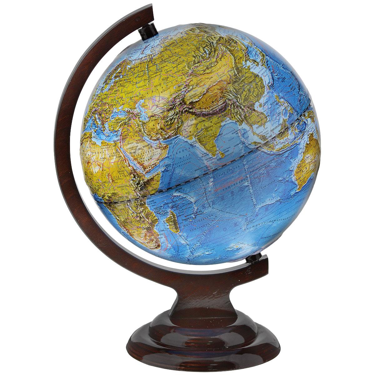 Глобусный мир Ландшафтный глобус, рельефный, диаметр 21 см, на деревянной подставке10228Ландшафтный глобус Глобусный мир, изготовленный из высококачественного прочного пластика. Данная модель предназначена для ознакомления с особенностями ландшафта нашей планеты. Помимо этого ландшафтный глобус обладает приятной цветовой гаммой. Глобус дает представление о местоположении материков и океанов, на нем можно рассмотреть особенности ландшафта нашей планеты (рельефы местности, леса, горы, реки, моря, структуру дна океанов, рельеф суши), можно увидеть графическое изображение географических меридианов и параллелей, гидрографическая сеть, а также крупнейшие населенные пункты. На глобусе имеются направления и названия подводных течений. Модель имеет рельефную выпуклую поверхность, что, в свою очередь, делает глобус особенно интересным для детей младшего школьного и дошкольного возрастов. Названия стран на глобусе приведены на русской язык. Изделие расположено на красивой деревянной подставке, что придает этой модели подарочный вид. Настольный глобус...