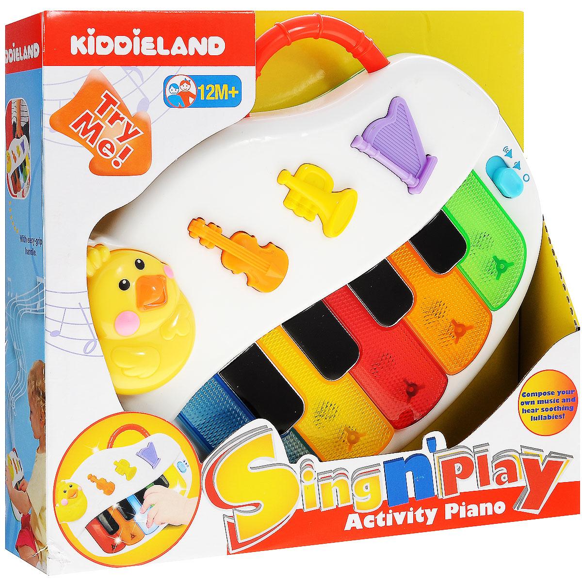 Kiddieland Развивающая игрушка ПианиноKID 051383Развивающая игрушка Kiddieland Пианино обязательно порадует малыша. Игрушка придется по душе всем детям, которые любят музыку, так как с помощью данной модели можно извлекать самые необычные звуки. Сочиняй свои собственные мелодии - на скрипке, трубе, арфе - или слушай имеющиеся композиции под мерцание огоньков. С помощью голубой кнопочки справа можно установить тихий, громкий или беззвучный режим. Игрушка развивает мелкую моторику, мышление, зрительное и звуковое восприятие, повышает двигательную активность малышей. Рекомендуемый возраст: от 12 месяцев. Питание: 2 батарейки типа АА (входят в комплект).