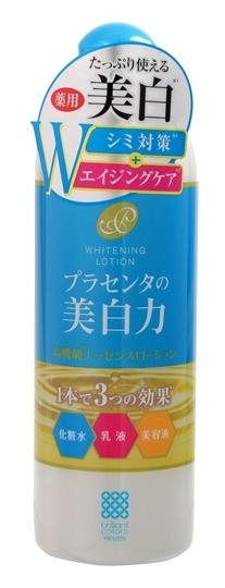 Meishoku Лосьон-молочко с экстрактом плаценты с отбеливающим эффектом, 400 мл236044Антивозрастное средство! Предупреждает появление пигментных пятен! Увлажняет и отбеливает кожу, придавая ей здоровый и сияющий вид! Сила отбеливания - в плаценте! Совмещая действие лосьона и молочка, средство глубоко увлажняет, поддерживает оптимальный уровень влаги в клетках кожи, придаёт ей упругость и эластичность. Активные компоненты в составе средства обладают увлажняющими, восстанавливающими и отбеливающими свойствами: Экстракт плаценты регулирует образование меланина в клетках кожи, предупреждая тем самым появление пигментных пятен и веснушек. Предотвращает сухость, увлажняет. Кожа становится более здоровой и сияющей. Коллаген увлажняет, предупреждает появление морщинок. Экстракты перловой крупы и шелковицы - увлажняющие растительные экстракты, обладают отбеливающими свойствами. В составе средства используется экстракт плаценты высокой очистки и только собственного производства.