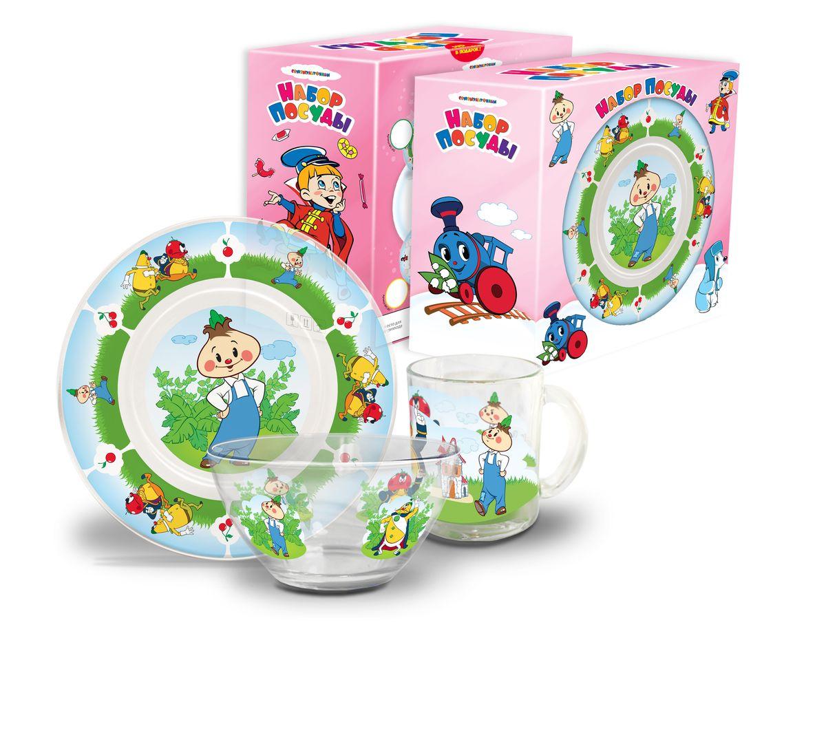 Набор посуды детский Чиполлино(стекло), 3 предметаКРС-302