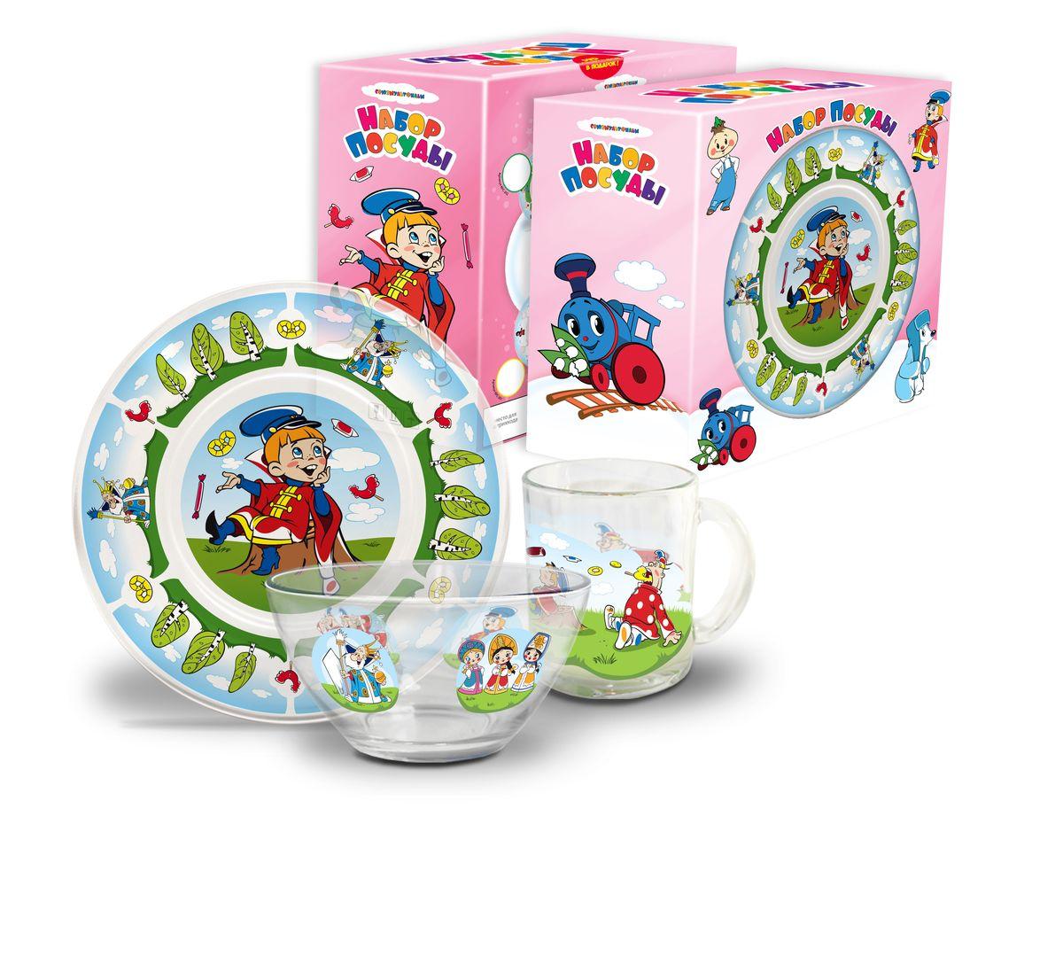 Набор посуды детский Вовка в тридевятом царстве (стекло), 3 предметаКРС-300