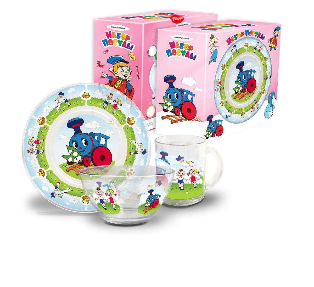 Набор посуды детский Паровозик из Ромашково (стекло), 3 предметаКРС-303