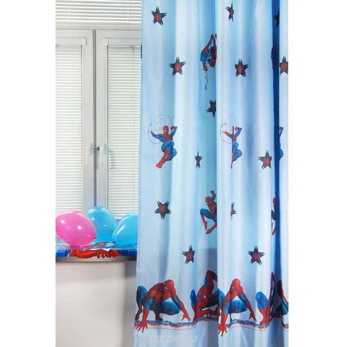 Портьера TAC Spider-Man, на ленте, цвет: голубой, высота 265 смGS0468Роскошная портьера TAC Spider-Man выполнена из полиэстера. Полиэстер - вид ткани, состоящий из полиэфирных волокон. Ткани из полиэстера - легкие, прочные и износостойкие. Такие изделия не требуют специального ухода, не пылятся и почти не мнутся. Портьера имеет дизайн в виде человека-паука из мультфильма Spider-Man. Осуществите заветную мечту ребенка окунуться в волшебный мир сказок, а любимые персонажи создадут атмосферу уюта для вашего малыша. Детская портьера эффектно дополнит стиль комнаты с любимыми героями, а также создаст неповторимую атмосферу гармонии. Эта портьера будет долгое время радовать вас и вашу семью! Портьера крепится на карниз при помощи шторной ленты, которая поможет красиво и равномерно задрапировать верх.