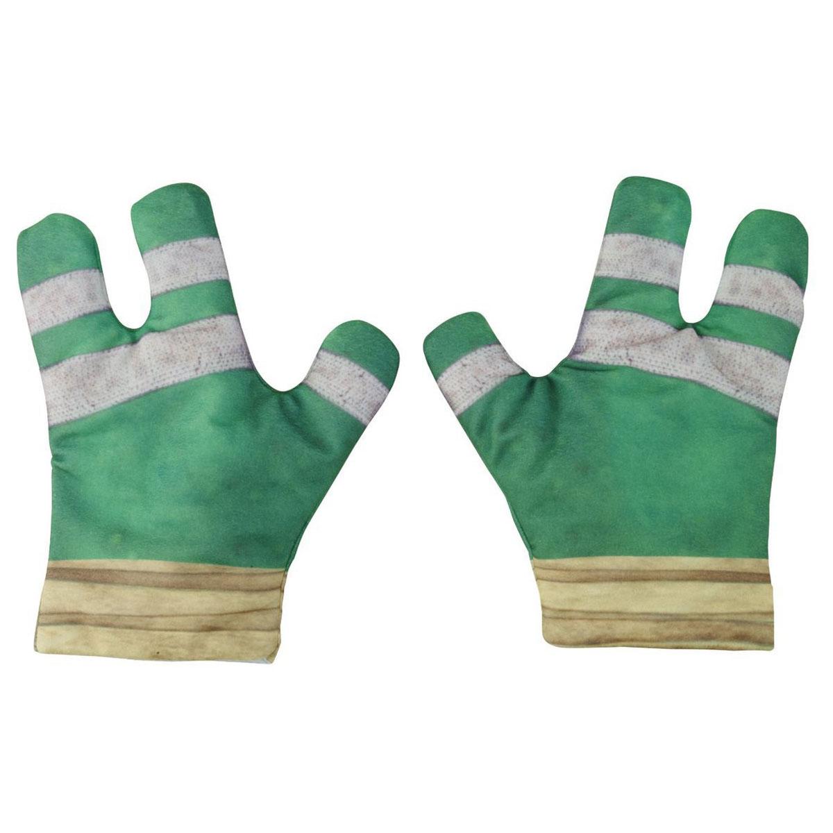 Черепашки Ниндзя Интерактивные трехпальцевые перчатки Черепашек-ниндзя Боевые перчатки ниндзя92271Интерактивные перчатки Черепашек-ниндзя Боевые перчатки ниндзя надолго займут вашего ребенка и не позволят ему скучать. Выполнены из приятного на ощупь материала и представлены в виде перчаток на три пальца. Боевые перчатки - это настоящее супер-устройство, с помощью которого ваш ребенок победит самого Шредера. Одна из перчаток оснащена звуковым чипом. Он имитирует более 30 воинственных фраз и звуков, таких как боевой клич, звуки удара, разбивающегося стекла и приветствия. Для активации звукового эффекта просто хлопни ладонями в перчатках. Перчатки крепко фиксируются на руке ребенка при помощи липучек. С такими интерактивными боевыми перчатками ваш непоседа с удовольствием будет перевоплощаться в любимого героя. Порадуйте своего ребенка таким замечательным подарком! Рекомендуется докупить 3 батарейки типа LR44 (товар комплектуется демонстрационными).