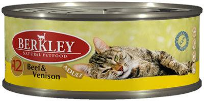 Консервы Berkley, для взрослых кошек, говядина с олениной, 100 г75111Консервы Berkley - полноценное консервированное питание для взрослых кошек. Нежная говядина наилучшего качества с олениной в ароматном бульоне. Консервы приготовлены исключительно из натурального сырья. Не содержат сои, искусственных красителей, ароматизаторов и консервантов. Состав: говядина - 35%, оленина - 35%, бульон - 28,9%, минералы - 1%, масло лосося - 0,1%. Анализ: протеин - 10,5%, жир - 6,3%, зола - 1,9%, клетчатка - 0,3%, влажность - 80%. Добавки на 1 кг продукта: витамин А - 3000 ME, витамин D3 - 200 МЕ, витамин Е - 30 мг, таурин - 1,5 г. Товар сертифицирован.