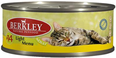 Консервы Berkley, для кошек с избыточным весом, телятина и кролик, 100 г консервы berkley для взрослых кошек с цыпленком и овощами 100 г