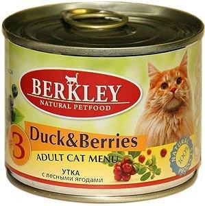Консервы Berkley, для взрослых кошек, утка с ягодами, 200 г консервы berkley для взрослых кошек с цыпленком и овощами 100 г