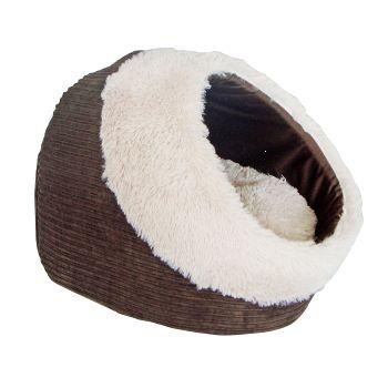 Домик для кошки THAIS BROWN 40х40х28смFIDB-7504Домик с комбинированной внешней отдекой из коричневого вельвета и искусственного меха. Подушка отделана искусственным мехом.