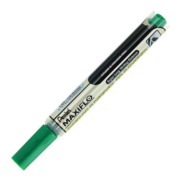 Pentel Маркер перманентный Maxiflo, цвет: зеленыйPNLF50-DМаркер-выделитель текста Maxiflo, выполненный из пластика, станет незаменимым аксессуаром в учебе или работе. Маркер содержит жидкие чернила зеленого цвета, которые обеспечивают ровные и четкие линии. Маркер с жидкими чернилами и кнопкой подкачки чернил. Длительность письма Maxiflo в 4 раза превышает обычные маркеры и обеспечивает безупречно яркие надписи! Диаметр стержня 4.5 мм.
