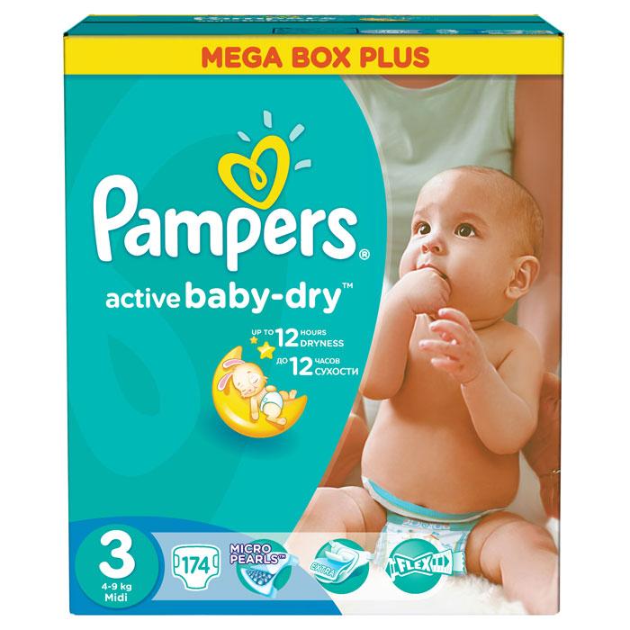 Pampers Подгузники Active Baby-dry 4-9 кг (размер 3) 174 штPA-81528080До 2х раз суше, чем обычный подгузник!* *по сравнению с подгузником из более экономичного ценового сегмента Для каждого «доброго утра» нужно, до 12 часов сухости ночью. Вот почему подгузники Pampers Active Baby-Dry имеют жемчужные микрогранулы, которые впитывают влаги до 30 раз больше собственного веса и надежно удерживают ее внутри подгузника. Просыпайтесь радостно каждое утро с подгузниками Pampers Active Baby-Dry. - Жемчужные микрогранулы, впитывают влаги до 30 раз больше собственного веса. - Уникальный верхний мягкий слой моментально впитывает влагу с кожи. - Экстра слой абсорбирует жидкость и распределяет ее по подгузнику. - Тянущиеся боковинки разработаны, чтоб малышу было комфортно двигаться, а подгузник сидел плотно. - Дышащие микропоры, впускают свежий воздух внутрь и выпускают наружу влажный, чтобы кожа малыша оставалась сухой. Срок хранения – 3 года. «Проктер энд Гэмбл», Россия.