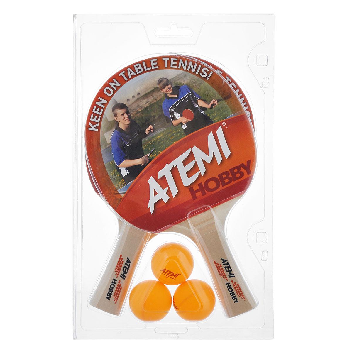 Набор для настольного тенниса Atemi Hobby, 5 предметов44127Набор для настольного тенниса Atemi Hobby включает в себя 2 ракетки и 3 мяча, предназначен для тренировок. Ракетки выполнены из фанеры и оснащены накладками из резины толщиной 1,8 мм. Анатомическая рукоятка эргономичной формы специально разработана для надежного хвата и комфортной игры. Хороший контроль, отличные игровые характеристики, высокая скорость игры. Настольный теннис - спортивная игра, основанная на перекидывании мяча ракетками через игровой стол с сеткой, цель которой - не дать противнику отбить мяч. Игра в настольный теннис развивает концентрацию, внимание, ловкость и координацию. Длина ракетки: 25 см. Диаметр шара: 3,5 см.