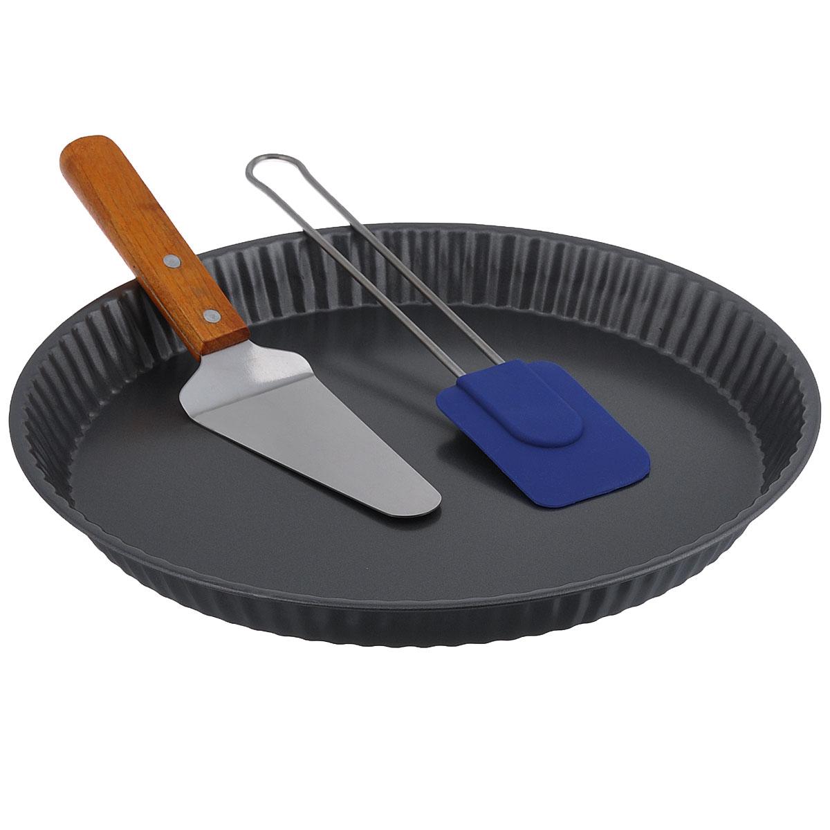 Набор для запекания, 3 предметаSL-8005Набор для запекания состоит из круглой формы для выпечки и двух лопаток. Форма выполнена из углеродистой стали. Особое высокотехнологичное антипригарное покрытие препятствует пригоранию пищи и обеспечивает легкую очистку после использования. Стенки формы рифленые. В наборе имеется лопатка с прозрачной акриловой ручкой и силиконовой рабочей поверхностью. Ей удобно смазывать форму и выпечку маслом. Металлическая лопатка с деревянной ручкой идеальна для сервировки выпечки. Такой функциональный набор пригодится любой хозяйке и поможет легко приготовить вкусную красивую выпечку. Можно мыть в посудомоечной машине. Не использовать абразивные моющие средства и мочалки.