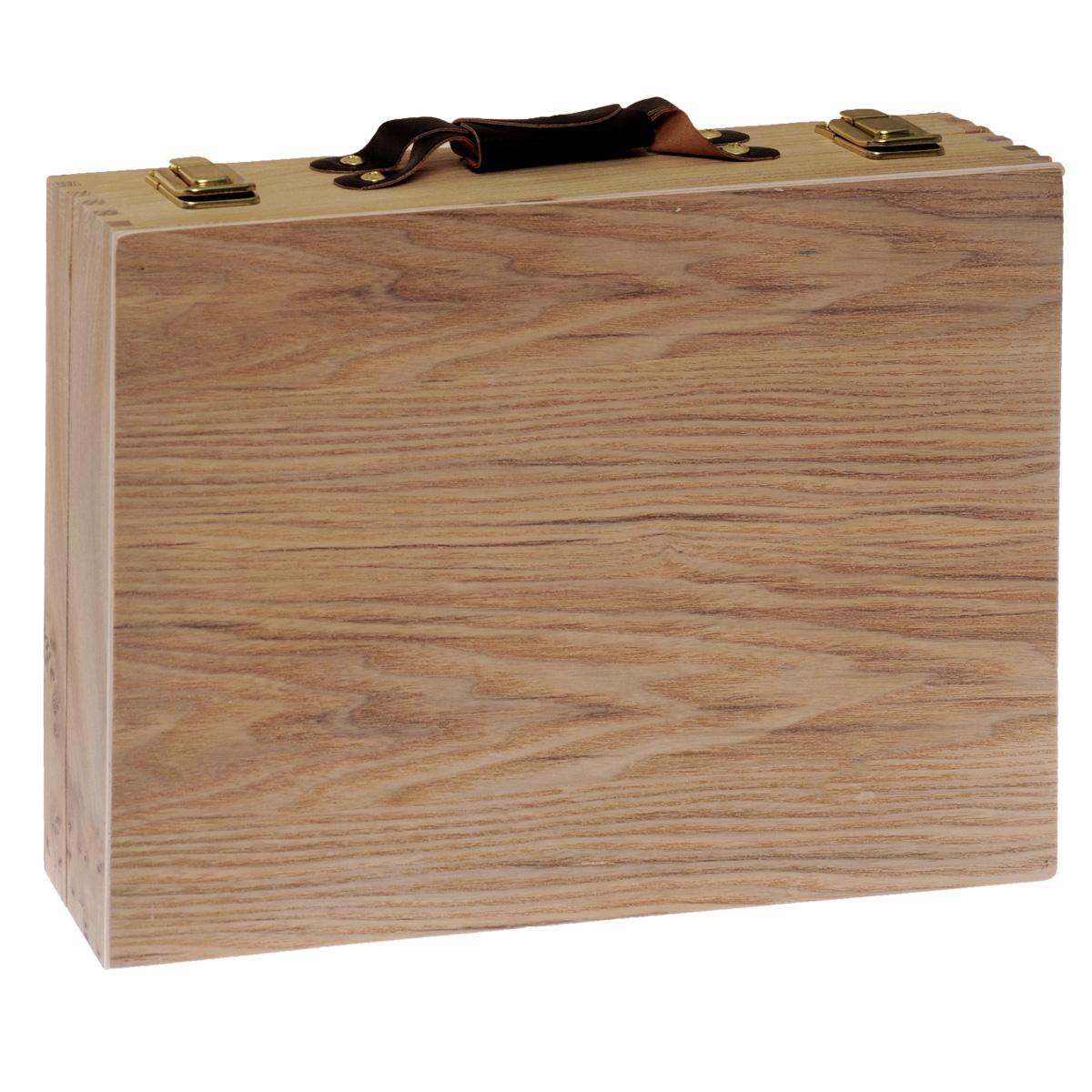 ЭтюдникETUDNIKПостоянный спутник художника - этюдник, поможет вам победить творческий беспорядок и всегда иметь под рукой все необходимые инструменты. Модель оптимального размера имеет несколько необходимых отделений. В то же время, вес этюдника - всего 750 г, что делает его подходящим не только для работы в студии, но и регулярных выездов на пленер. Выполнен из дерева, ручка высотой 2 см выполнена из кожи, имеет хлястик на кнопке. Размеры этюдника - 23,5 х 32 х 7 см. Количество отделений - 3, шириной по 7,5 см. Застежки металлические. Категория 16+.
