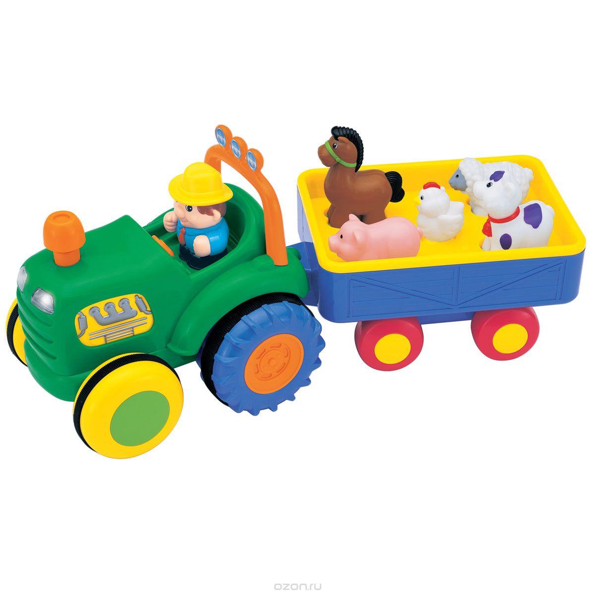 Kiddieland Игровой развивающий центр Трактор фермераKID 049726Игровой развивающий центр Kiddieland Трактор фермера - это яркая многофункциональная игрушка для малышей в виде трактора с мигающими огоньками, приятной музыкой и забавными звуками. Она умеет ездить, что позволяет стимулировать малыша к ползанию или к ходьбе за ней. За рулем трактора сидит веселый фермер, который везет 5 домашних животных: лошадку, поросенка, коровку, овечку и курочку. Зверушки едут в отдельном прицепе, у каждого животного есть свое отдельное место. При нажатии на фигурки они издают соответствующие реалистичные звуки, читают стишки, а фермер поет песенку. Трактор начинает движение, если нажать на трубу, при этом он весело подмигнет фарами малышу. Его движение также сопровождается очень реалистичным звуком двигателя и тормозов. Все фигурки снимаются с трактора, поэтому с ними можно играть отдельно. Игрушка развивает мелкую моторику, мышление, зрительное и звуковое восприятие, повышает двигательную активность малышей. Рекомендуемый возраст: от 12 месяцев. ...