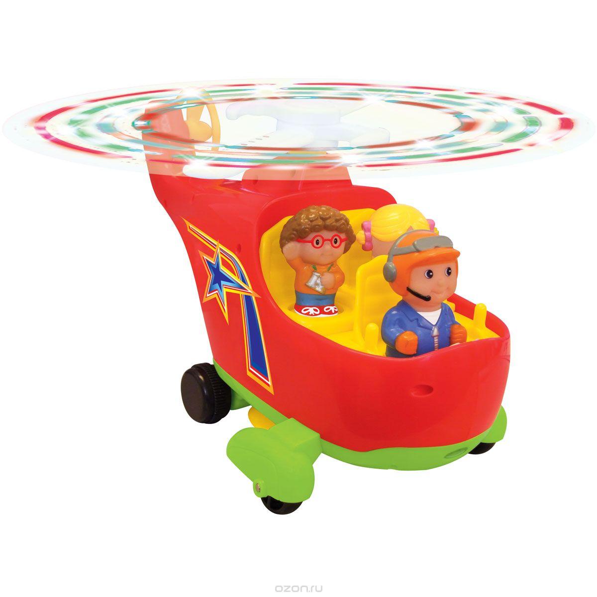 Kiddieland Развивающая игрушка ВертолетKID 045880Развивающая игрушка Kiddieland Вертолет со звуковыми и световыми эффектами обязательно понравится любому мальчишке. Вертолет приподнимается вверх и кружится перед тем, как устремиться вперед! Нажав на фигурки летчика или пассажиров, малыш услышит веселую мелодию. Лопасти вертолета крутятся под восхитительную музыку и звуки мотора. С тремя съемными фигурками для дополнительных ролевых игр. Набор включает фигурку пилота и двух пассажиров, которые легко вынимаются и ими можно играть отдельно. Игрушка развивает мелкую моторику, мышление, зрительное и звуковое восприятие, повышает двигательную активность малышей. Рекомендуемый возраст: от 12 месяцев. Питание: 4 батарейки типа АА (входят в комплект).
