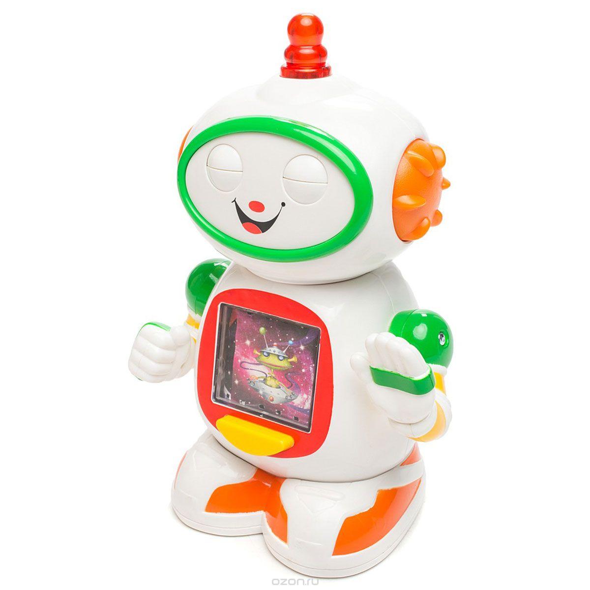 Kiddieland Развивающая игрушка Приятель роботKID 051367Развивающая игрушка Kiddieland Приятель робот обязательно порадует малыша. Игрушка умеет вертеть головой и махать ручками. Покрутив кнопку на голове можно увидеть, как робот двигает глазками под забавные звуки. Нажав кнопку на туловище, понаблюдать за цветными картинками и послушать музыку. Игрушка развивает мелкую моторику, мышление, зрительное и звуковое восприятие, повышает двигательную активность малышей. Рекомендуемый возраст: от 18 месяцев. Питание: 2 батарейки типа АА (входят в комплект).