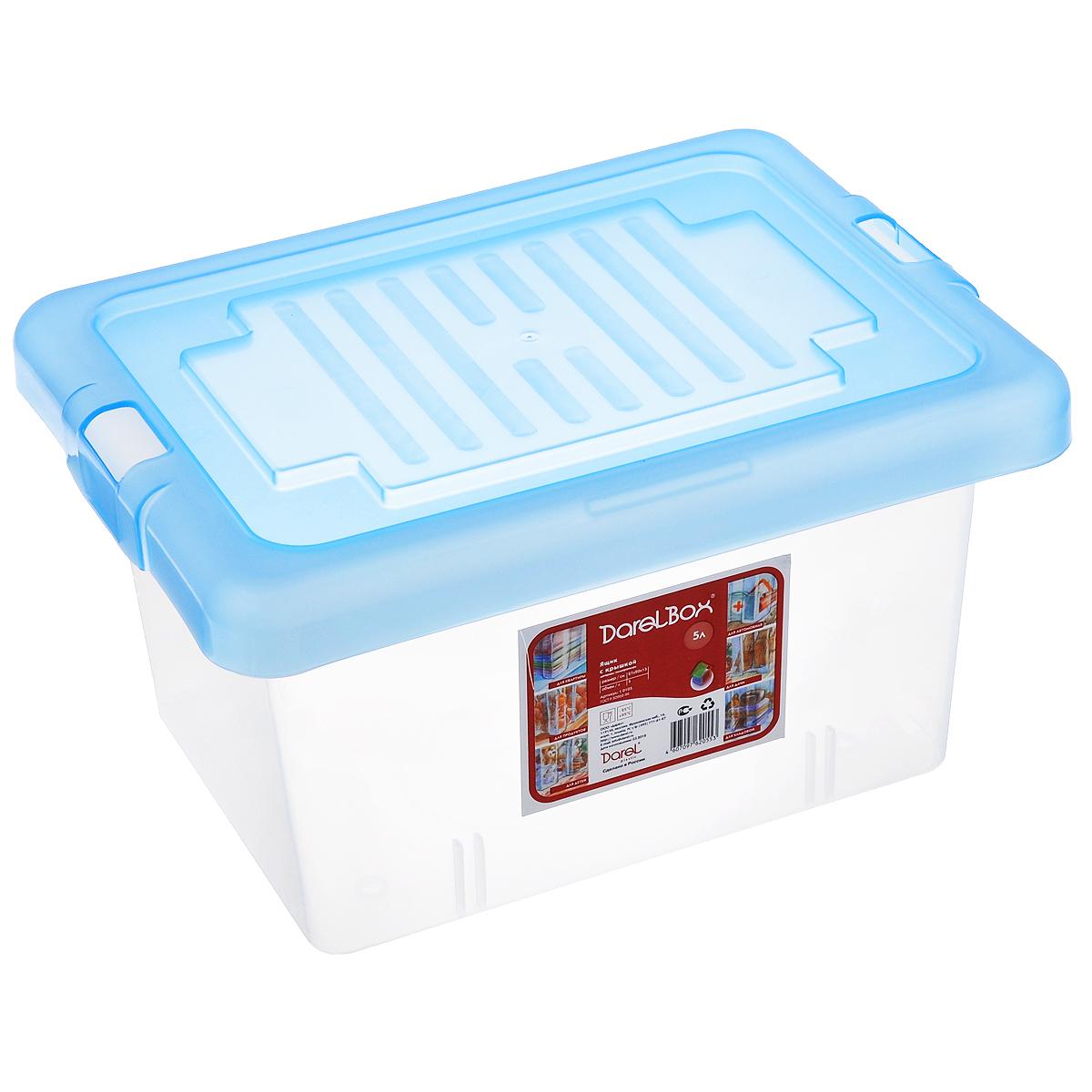 Ящик Darel Box, с крышкой, цвет: голубой, прозрачный, 5 л10105Ящик Darel Box, изготовленный из прозрачного пластика, оснащен плотно закрывающейся крышкой. Изделие предназначено для хранения различных бытовых вещей. Идеально подойдет для хранения как продуктов, так и игрушек. Будет незаменим на даче, в гараже или кладовой. Выдерживает температурные перепады от -25°С до +95°С.