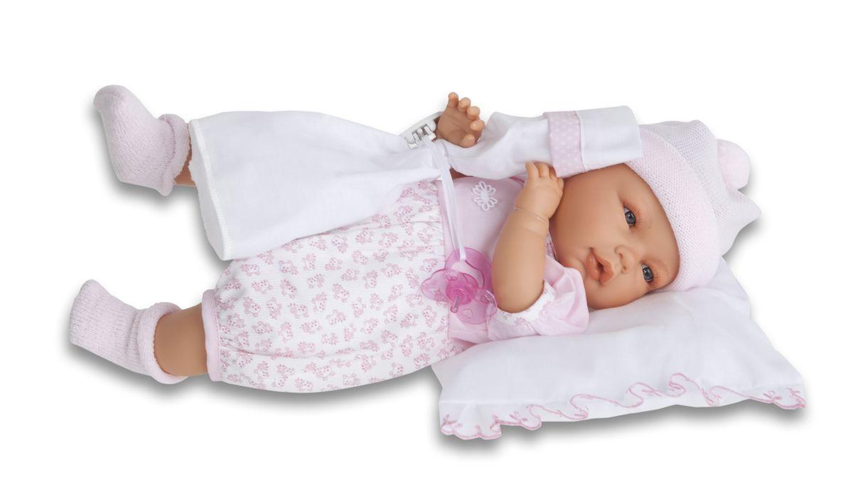 Munecas Antonio Juan Пупс Габи розовом костюме1445PКукла-малыш выглядит как настоящий ребенок. Личико сделано с детальными прорисовками. Малыш умеет плакать, вставьте соску в ротик куклы и она сразу успокоится. Кукла с виниловыми подвижными ручками, ножками и головой, и мягконабивным туловищем. Кукла упакована в красивую подарочную коробку.