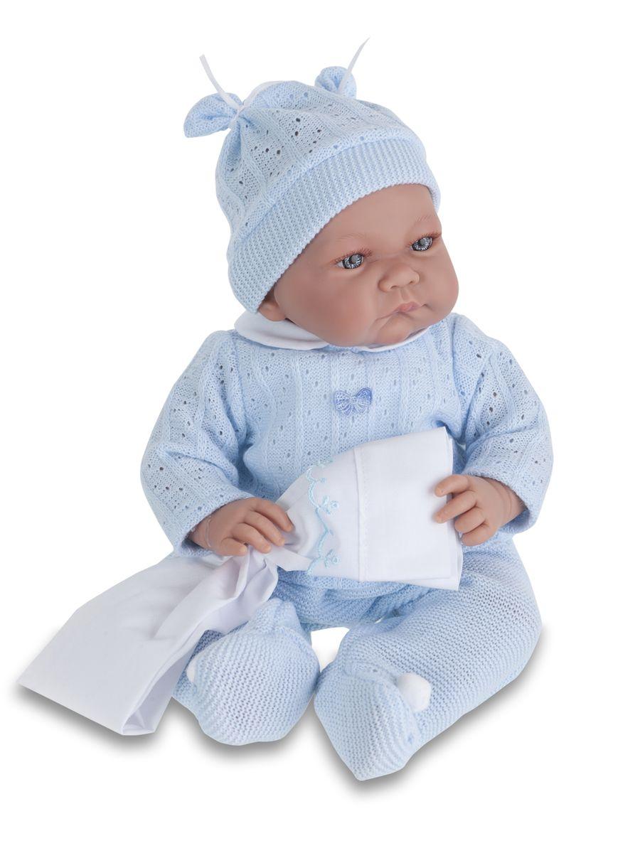 Munecas Antonio Juan Пупс Ника в голубом костюме3359BИНТЕРАКТИВНЫЕ ФУНКЦИИ КУКЛЫ: нажмите на животик: - 1 раз - кукла засмеется, 2ой раз - кукла скажет мама, 3ий раз - скажет папа. Образы малышей Мунекас разработаны известными европейскими дизайнерами. Кукла с виниловыми подвижными ручками, ножками и головой, и мягконабивным туловищем. Кукла упакована в красивую подарочную коробку.
