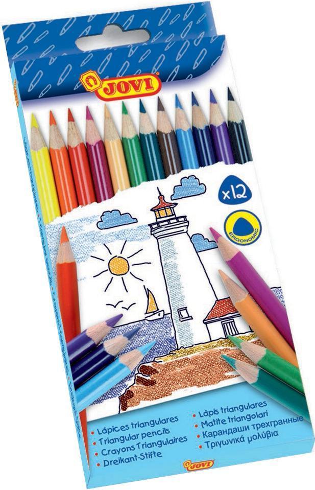Карандаши 12цв., треуг.формы, картонная упаковка с европодвесом733/12Карандаши Jovi не крошатся, пишут на многих поверхностях (бумага, картон). Специально разработаны для самых маленьких детей и отвечают всем требованиям качества и безопасности. Рисование развивает мелкую моторику рук, цветовое восприятие. В наборе 12 заточенных карандашей, ярких, насыщенных цветов.