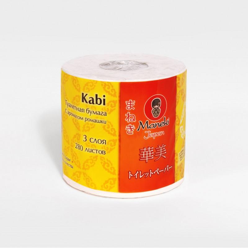 Бумага туалетная Maneki Kabi, трехслойная, цвет: белый, 10 рулоновTP043Туалетная бумага Maneki Kabi обладает приятным ароматом ромашки. Трехслойные листы имеют цветочный рисунок с тиснением. Необыкновенно мягкая и шелковистая бумага изготовлена из экологически чистого, высококачественного сырья - древесной целлюлозы. Мягкая, нежная, но в тоже время прочная, бумага не расслаивается и отрывается строго по линии перфорации. Длина рулона: 39,2 м. Количество слоев: 3. Количество листов: 280. Размер листа: 13,8 см х 10 м.