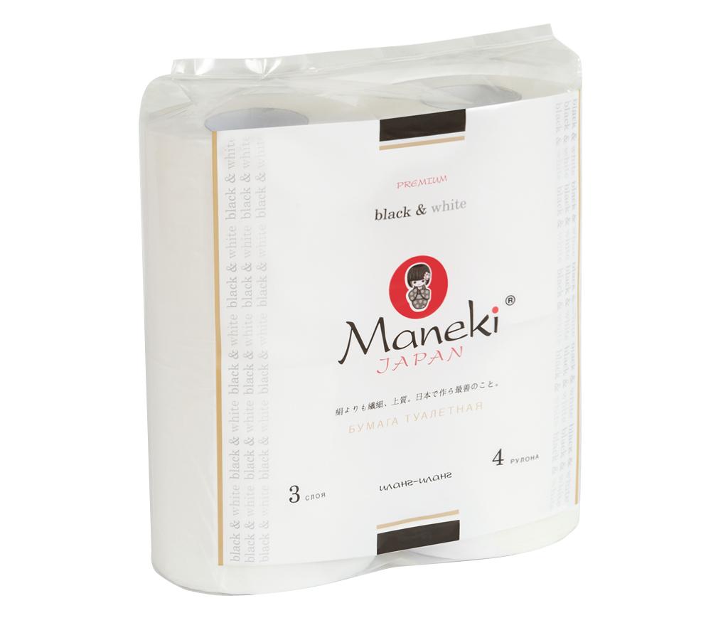 Бумага туалетная Maneki, трехслойная, цвет: белый, 4 рулонаTP579Туалетная бумага Maneki обладает приятным ароматом иланг-иланг. Трехслойные листы имеют рисунок с тиснением. Необыкновенно мягкая и шелковистая бумага изготовлена из экологически чистого, высококачественного сырья - древесной целлюлозы. Мягкая, нежная, но в тоже время прочная, бумага не расслаивается и отрывается строго по линии перфорации. Длина рулона: 23 м. Количество слоев: 3. Количество листов: 167. Размер листа: 13,8 см х 10 м.