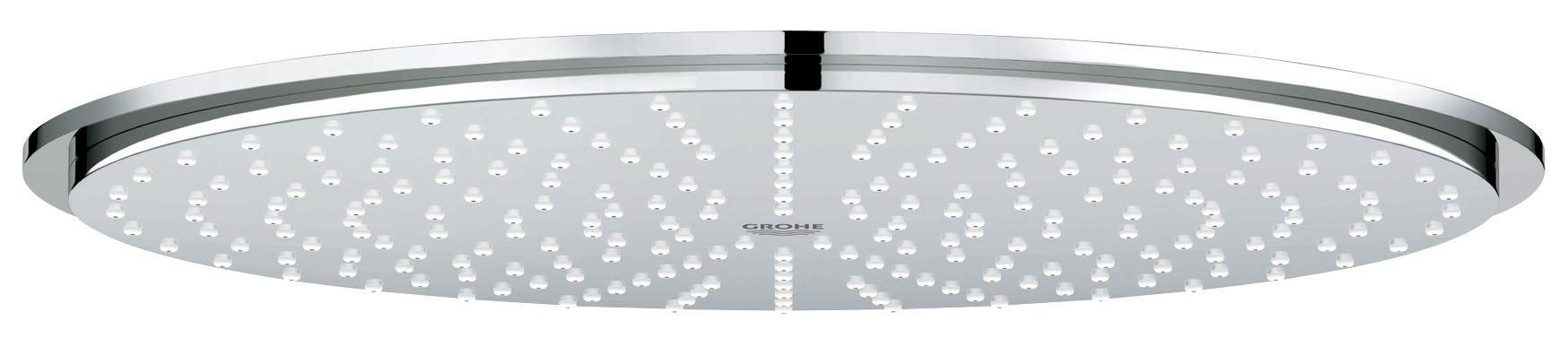 Верхний душ GROHE Rainshower (27477000)27477000Rain Металл O 310 мм Резьбовое соединение 1/2? Шаровой шарнир с углом поворота 20° ± 20° С системой SpeedClean против известковых отложений Может использоваться с проточным водонагревателем GROHE StarLight хромированная поверхность GROHE DreamSpray превосходный поток воды