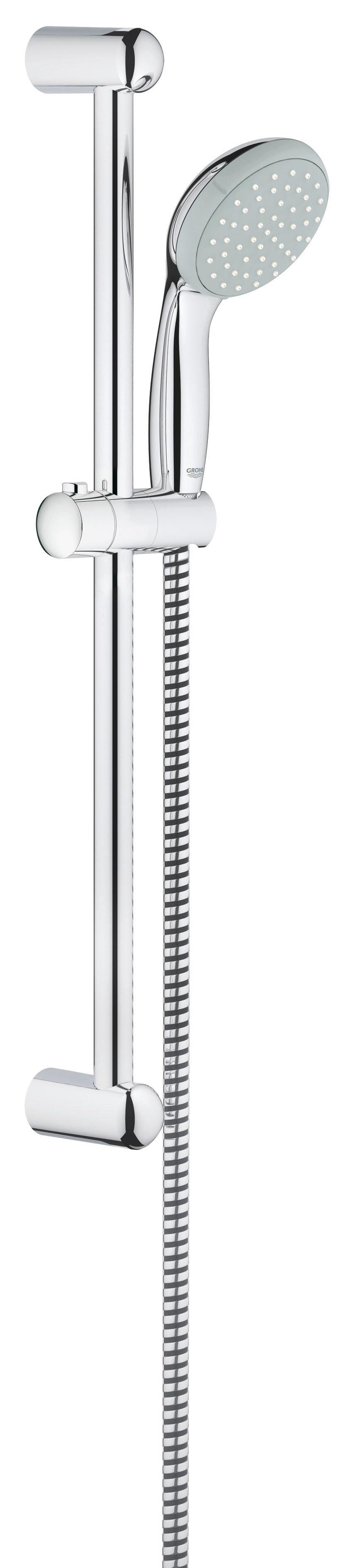 Душевой комплект GROHE Tempesta Classic I (27853000)27853000GROHE New Tempesta 100: душевой гарнитур со штангой длиной 600 мм и душевой головкой диаметром 100 мм для расслабляющих водных процедур в стиле спа Этот душевой гарнитур с настенным держателем из серии New Tempesta 100 в комплекте с душевой головкой, штангой и шлангом, избавит Вас от необходимости поиска и подбора отдельных элементов. Все компоненты гарнитура отличаются эстетичным дизайном, а также высокой износостойкостью и простотой в уходе за счет глянцевого хромированного покрытия GROHE StarLight. Силиконовое кольцо ShockProof защитит ручной душ от повреждений в случае падения. В режиме Rain Вас окутает ласковый поток капель, напоминающий теплый летний дождь, и каждое принятие душа превратится в расслабляющую спа-процедуру. Технология GROHE DreamSpray обеспечивает равномерность душевой струи, а система SpeedClean предотвращает известкование форсунок душевой головки. Особенности: Включает в себя: Ручной душ (27 852 000) Душевая штанга, 600 мм (27 523 000) ...
