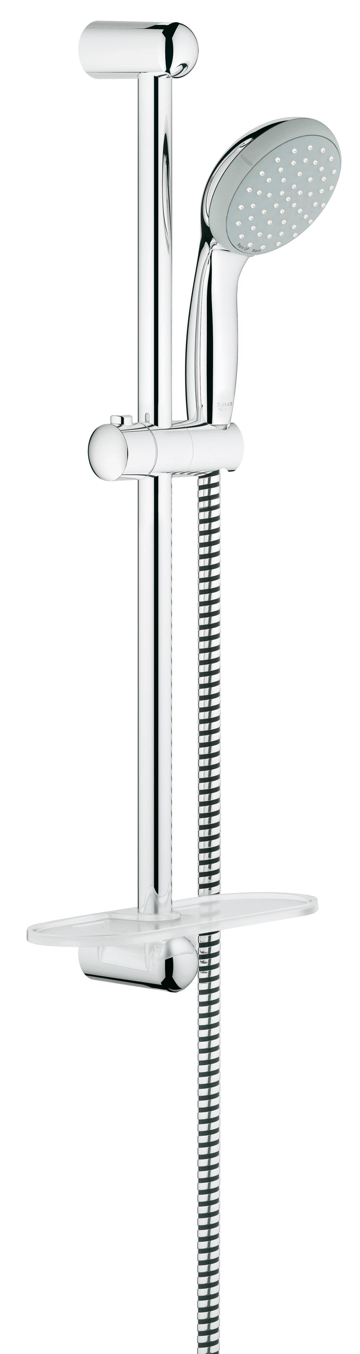 Душевой комплект с полочкой GROHE New Tempesta, штанга 600мм. (27926000)27926000Состоит из Ручной душ (27 597 00E) Душевая штанга, 600 мм (27 523 000) Душевой шланг Relexaflex 1750 мм 1/2? x 1/2? (28 154 000) Полочка GROHE EasyReach™ (27 596 000) GROHE DreamSpray превосходный поток воды GROHE CoolTouch GROHE StarLight хромированная поверхность С системой SpeedClean против известковых отложений Внутренний охлаждающий канал для продолжительного срока службы ShockProof силиконовое кольцо, предотвращающее Повреждение поверхности при падении ручного душа Может использоваться с проточным водонагревателем Видео по установке является исключительно информационным. Установка должна проводиться профессионалами!