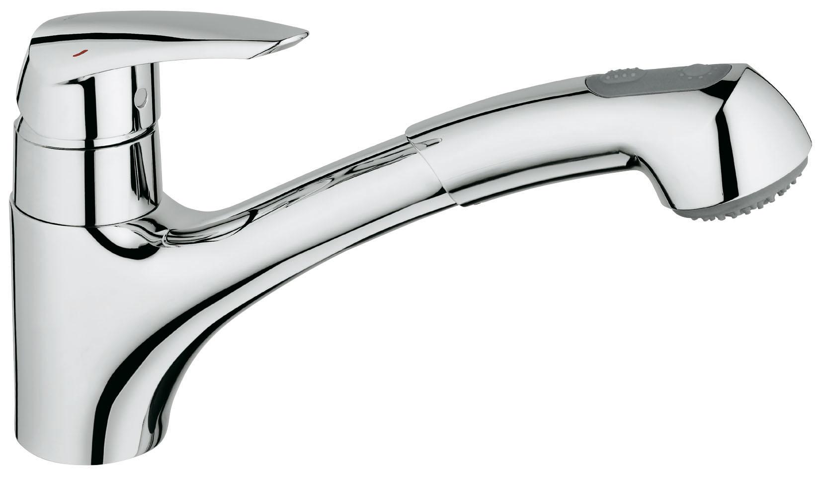 Смеситель для кухни GROHE Eurodisc с выдвижным изливом (32257001)32257001GROHE Eurodisc: удобный смеситель для кухни с выдвижной душевой головкой Когда после приготовления вкусного ужина останется гора грязных кастрюль и сковород, выдвижная душевая головка данного кухонного смесителя поможет Вам разделаться с ними со скоростью профессионала. Этот однорычажный смеситель всегда поможет Вам быстро справляться с мытьем посуды и поддержанием мойки в чистоте. Благодаря картриджу с технологией GROHE SilkMove, рычаг управления отличается плавным и легким ходом. Возможность вращения излива в радиусе 140° увеличивает свободу движений при повседневной работе на кухне. Данный смеситель был разработан таким образом, чтобы быть удобным для пользователей во всех отношениях, поэтому он снабжен системой предотвращения известкования SpeedClean и системой упрощенного монтажа, позволяющей выполнить его установку быстро и без затруднений. Благодаря сияющему хромированному покрытию GROHE, этот надежный смеситель Eurodisc станет эффектным дополнением к оснащению Вашей кухни. ...