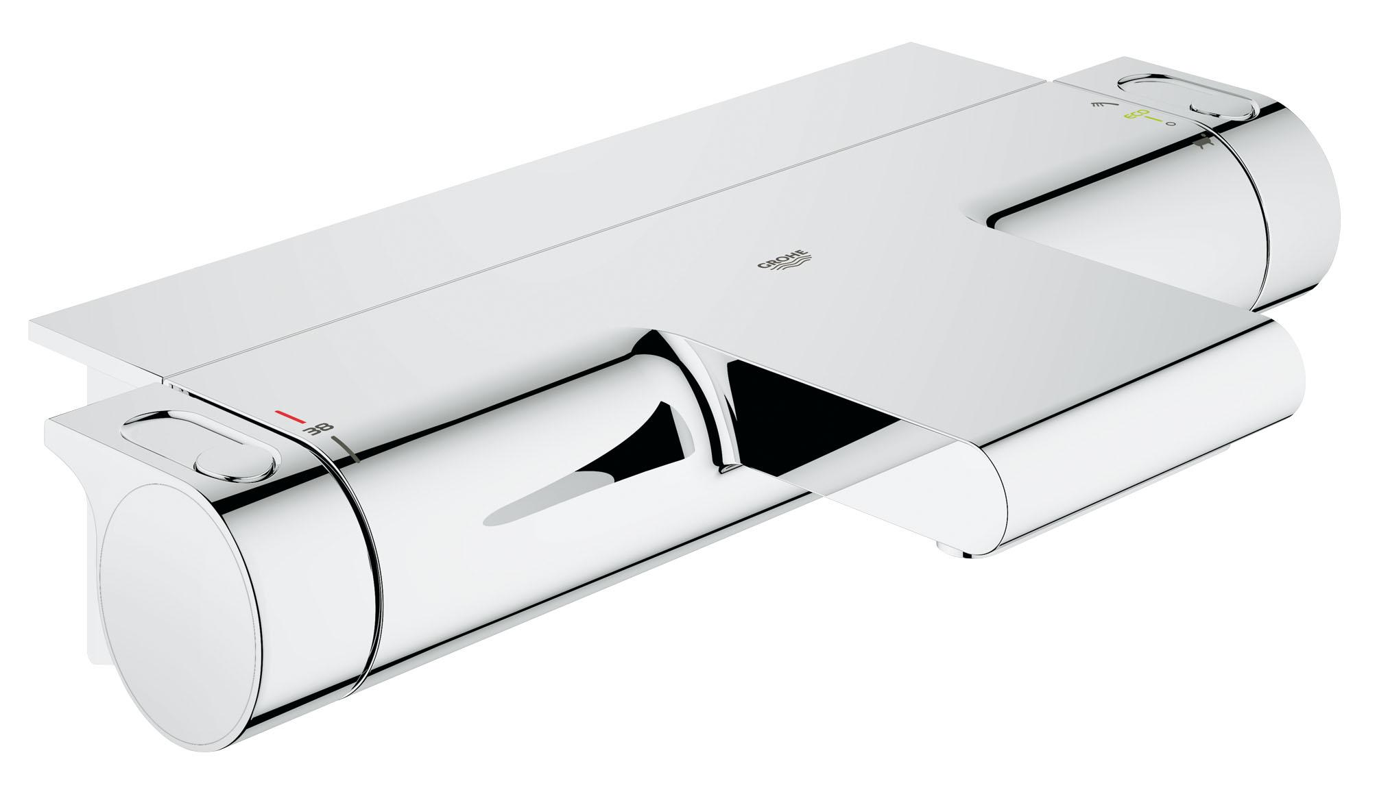 Термостат для ванны GROHE Grohtherm 2000 New с полочкой. (34464001)34464001Этот изящный смеситель для ванны позволит вам быстро наполнить ванну с помощью невероятно бесшумного потока воды желаемой температуры, который погрузит вас в умиротворяющую атмосферу в стиле спа. Мощный термостат комплектуется изящной полочкой EasyReach для хранения банных принадлежностей под рукой, а технология GROHE CoolTouch делает его безопасным для прикосновений, не позволяя внешней поверхности нагреваться. Переключатель GROHE AquaDimmer позволяет с легкостью перенаправлять поток воды между каскадным изливом для ванны и душем. Ограничитель SafeStop предохраняет пользователей — особенно детей — от случайного включения слишком горячей воды во время купания. Благодаря нецарапающемуся и легко очищаемому хромированному покрытию это изысканное устройство сохранит свой ослепительный внешний вид на многие годы. Встроенный механизм водосбережения позволит вам сократить расход воды через душ практически вдвое, помогая спокойно наслаждаться купанием с сознанием того, что вы экономите ценные...