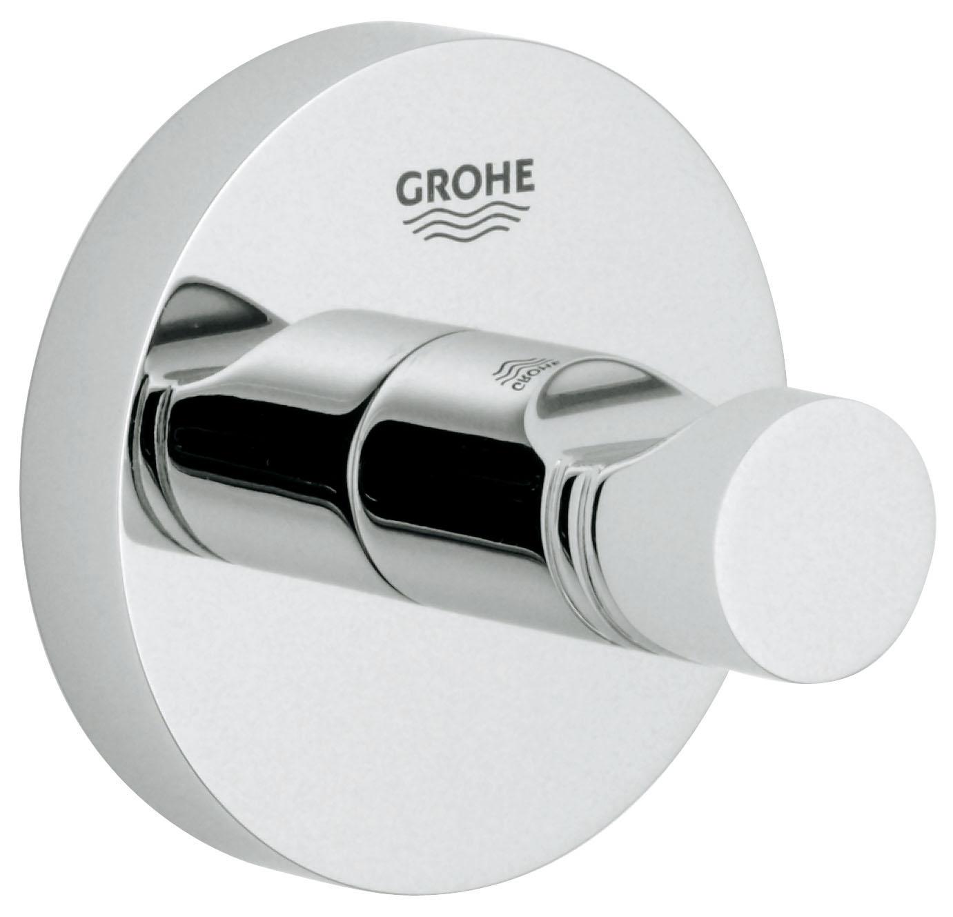 Крючок для банного халата Grohe Essentials40364000С помощью прочного и стильного крючка для банного халата GROHE Essentials у вашего уютного банного халата появится в ванной комнате свое почетное место, где вы всегда сможете его найти, как только он вам потребуется. Этот аксессуар с элегантным хромированным покрытием станет завершающим штрихом в интерьере ванной комнаты. Особенности GROHE StarLight хромированная поверхность