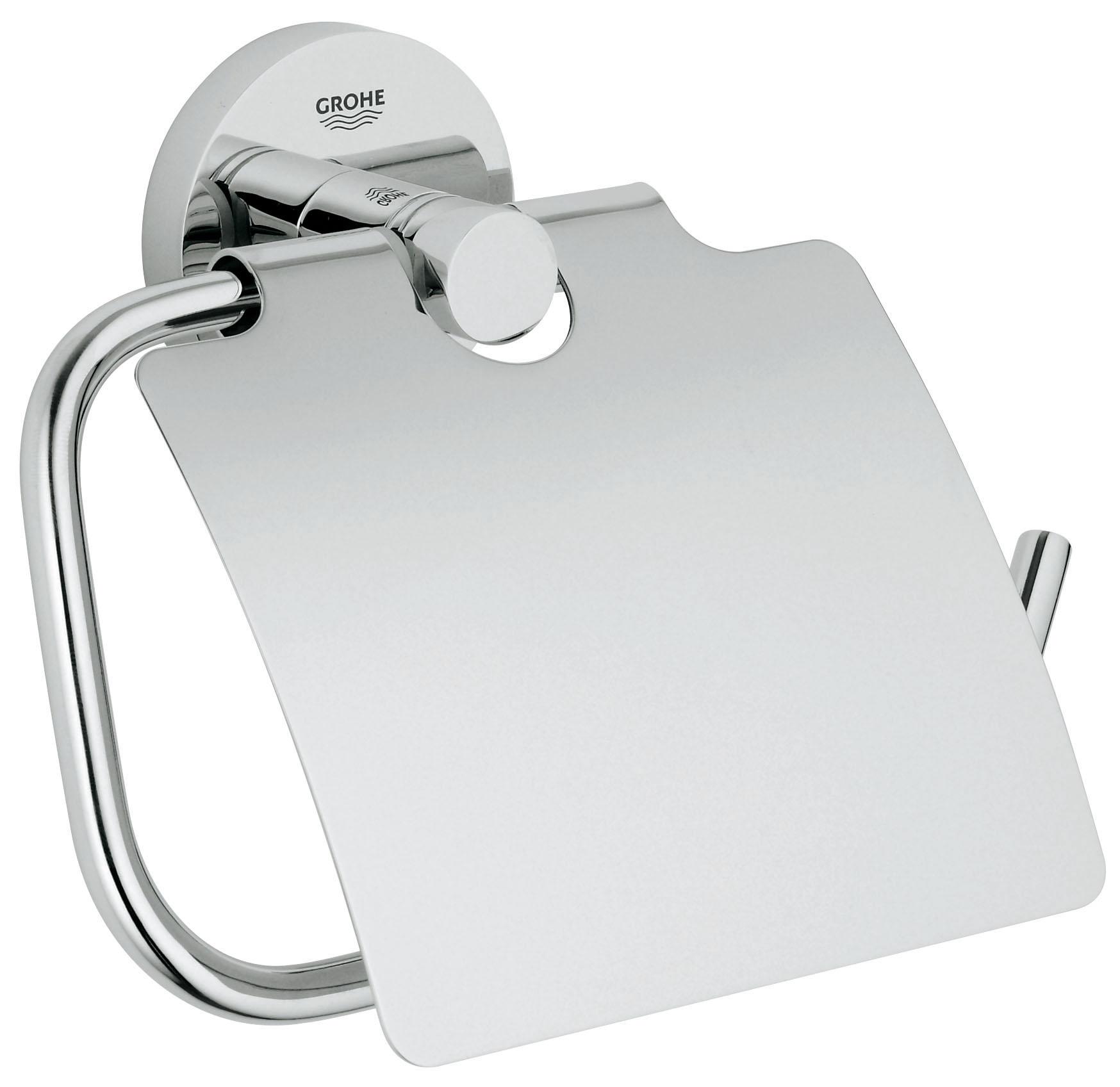 Держатель для туалетной бумаги GROHE Essentials, с крышкой. 4036700040367000Образец неоспоримой эстетической привлекательности: держатель для туалетной бумаги с козырьком из коллекции GROHE Essentials, в дизайне которого элегантность объединена с функциональностью, станет эффектным акцентом в интерьере вашей ванной комнаты. Ослепительное хромированное покрытие, в которое заложены проверенные стандарты качества GROHE, сохранит свой первозданный вид на многие годы. Особенности с крышкой GROHE StarLight хромированная поверхность