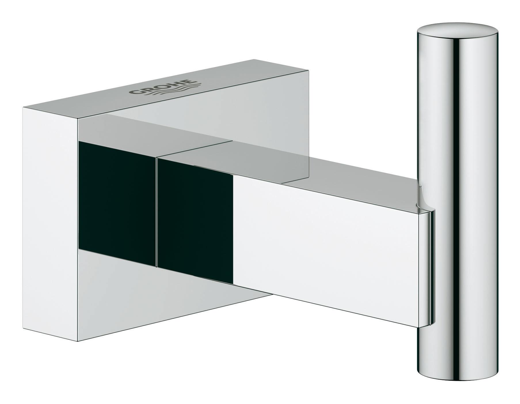 Крючок для банного халата GROHE Essentials Cube. 4051100040511000С помощью прочного и стильного крючка для банного халата GROHE Essentials Cube у вашего уютного банного халата появится в ванной комнате свое почетное место, где вы всегда сможете его найти, как только он вам потребуется. Этот аксессуар с элегантным хромированным покрытием станет завершающим штрихом в интерьере ванной комнаты. Особенности GROHE StarLight хромированная поверхность