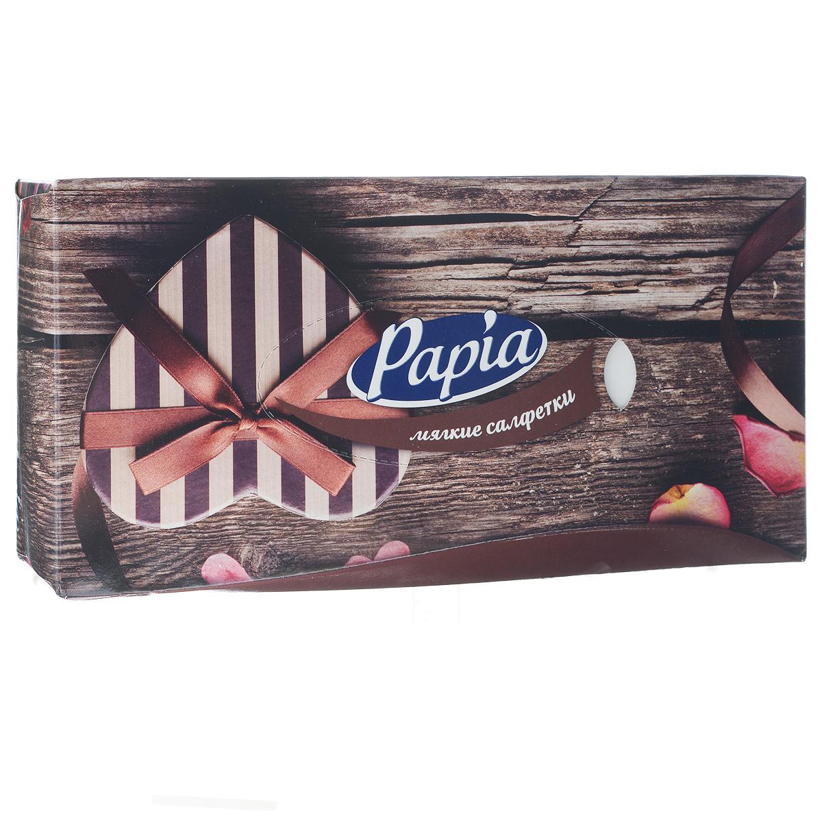 Салфетки бумажные Papia, трехслойные, цвет: коричневый, 21 x 21 см, 80 шт15309_коричневый (LOVE)Трехслойные салфетки Papia выполнены из 100% целлюлозы. Салфетки подходят для косметического, санитарно-гигиенического и хозяйственного назначения. Нежные и мягкие, они удивят вас не только своим высоким качеством, но и внешним видом. Изделия упакованы в коробку, поэтому их удобно использовать дома или взять с собой в офис или машину. Размер салфеток: 21 см х 21 см.