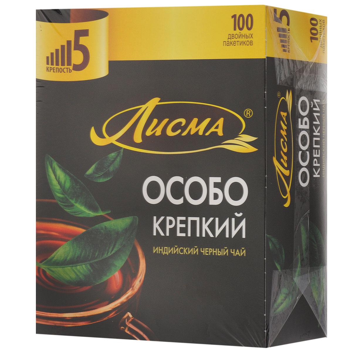 Лисма Особо Крепкий черный чай в пакетиках, 100 шт212701Лисма Особо Крепкий - индийский черный байховый чай в пакетиках. В коробке содержится 100 пакетиков по 2,3 грамма.
