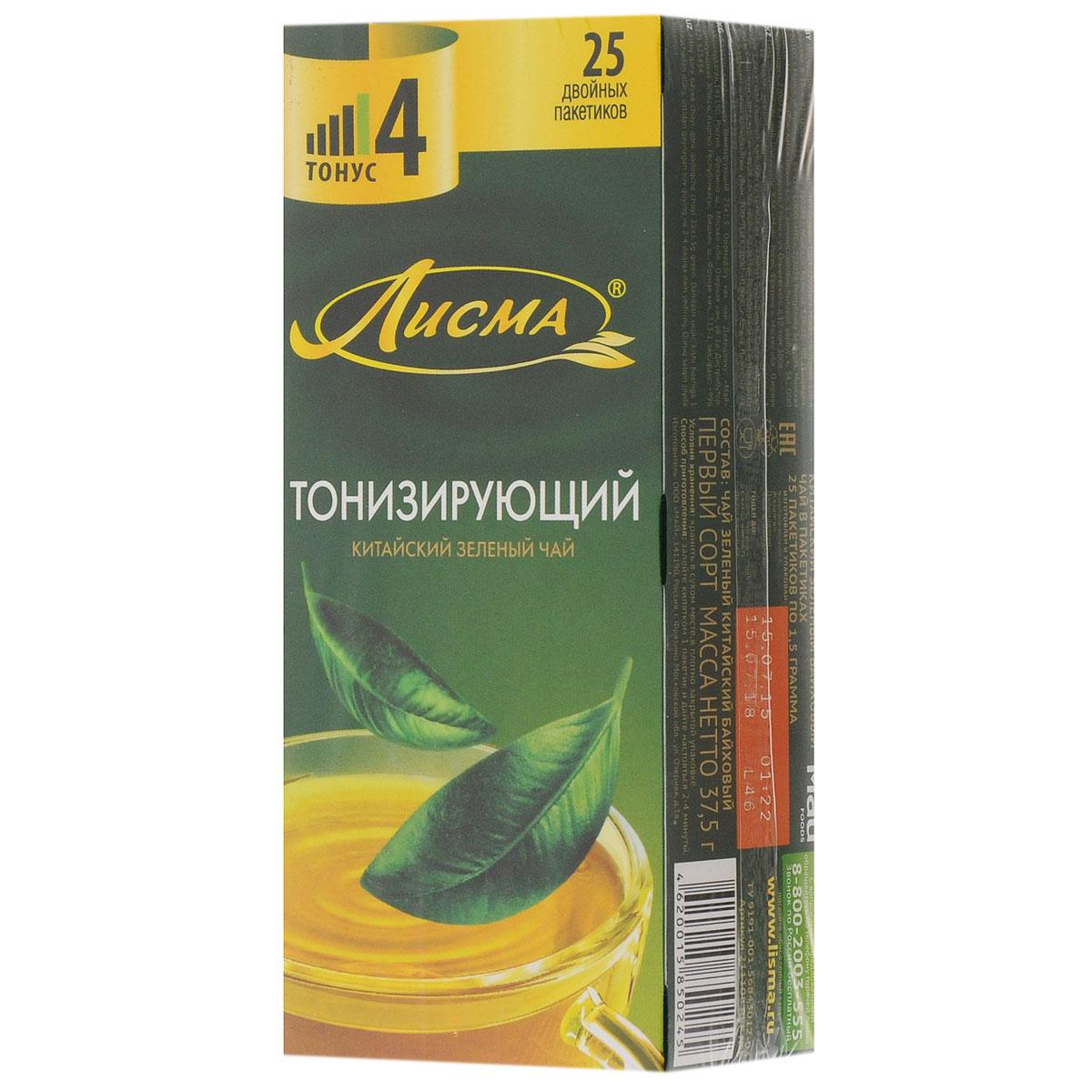 Лисма Тонизирующий зеленый чай в пакетиках, 25 шт
