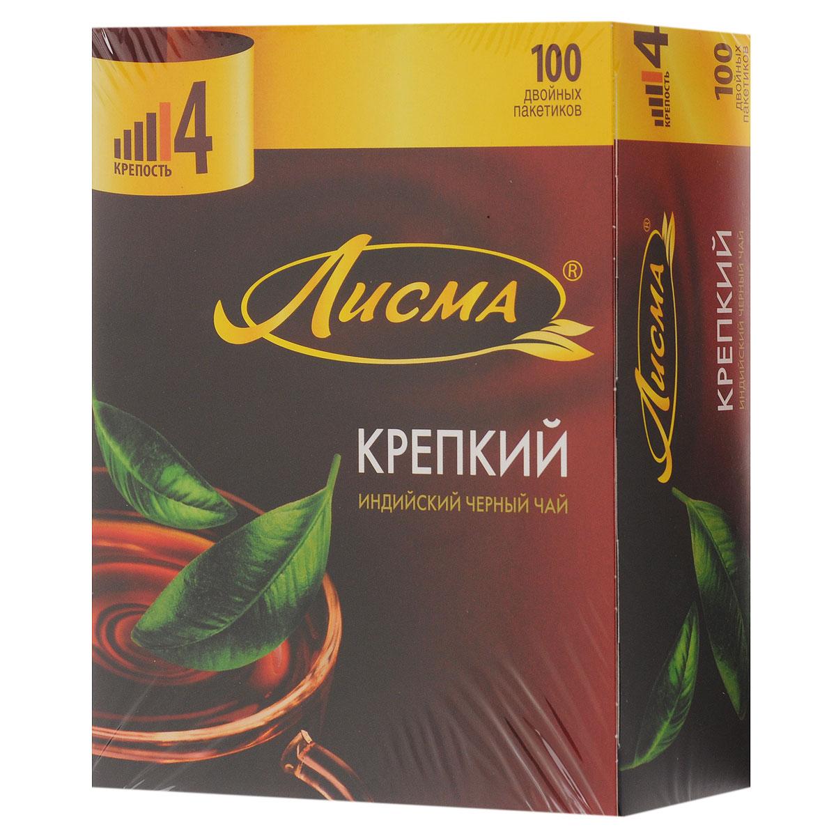 Лисма Крепкий черный чай в пакетиках, 100 шт201933Лисма Крепкий - индийский черный байховый чай в пакетиках. Коробка содержит 100 пакетиков по 2 грамма.