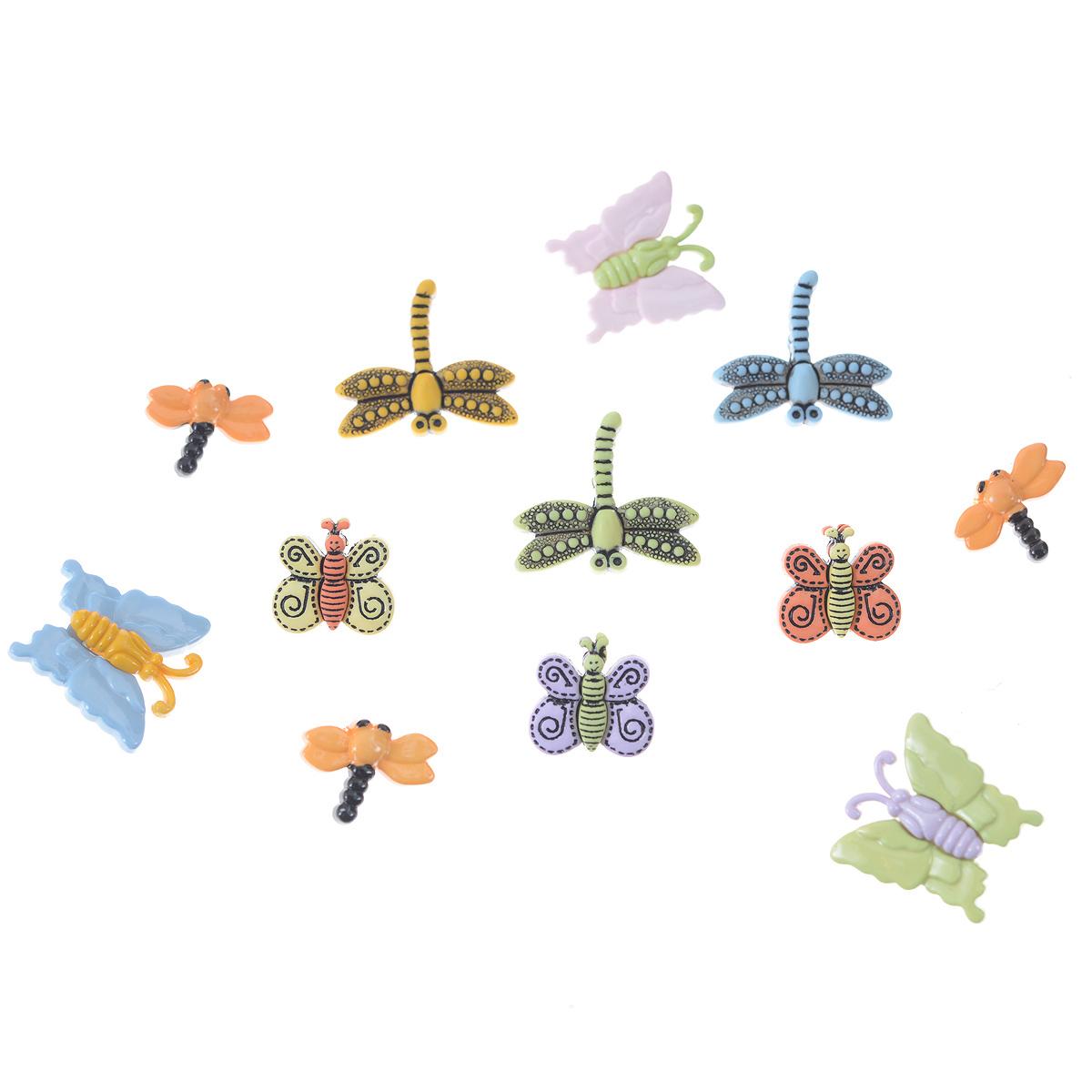 Пуговицы декоративные Buttons Galore & More Spring, 12 шт7705942Набор Buttons Galore & More Spring состоит из 12 декоративных пуговиц на ножке. Изделия выполнены из пластика в форме бабочек и стрекоз. Предметы набора подходят для любых видов творчества: скрапбукинга, декорирования, шитья, изготовления кукол, а также для оформления одежды. С их помощью вы сможете украсить открытку, фотографию, альбом, подарок и другие предметы ручной работы. Изделия имеют оригинальный и яркий дизайн. Средний размер пуговицы: 2,2 см х 2,2 см х 0,5 см.
