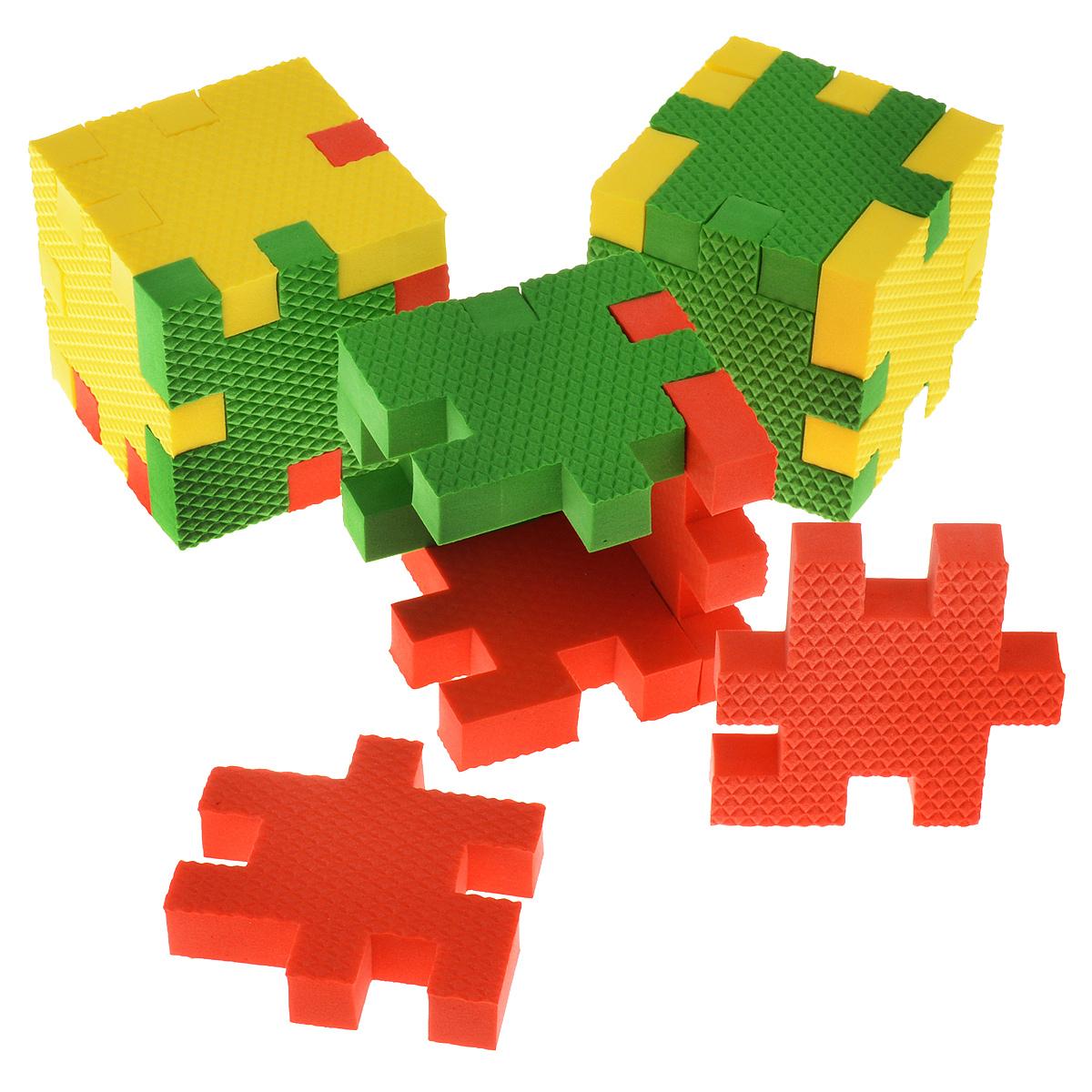 Picnmix Пазл-конструктор Кубикформ Континент111006Пазл-конструктор Pic&Mix Кубикформ Континент имеет уровень сложности Мастер. Игра может проводиться в 2 этапа: на первом этапе ребенок осваивает навыки составления простых элементов головоломки и запоминает 3 цвета, входящие в набор, также он усваивает названия таких географических объектов как вулкан, пустыня и лес; на втором этапе ребенок учится собирать сложные геометрические фигуры. Серия обучающих пазл-конструкторов стимулирует развитие мышления, логики, пространственного воображения, памяти, координации, мелкой моторики, а также помогает усвоить навыки тактильного восприятия. В комплект входят 21 элемент конструктора, инструкция.